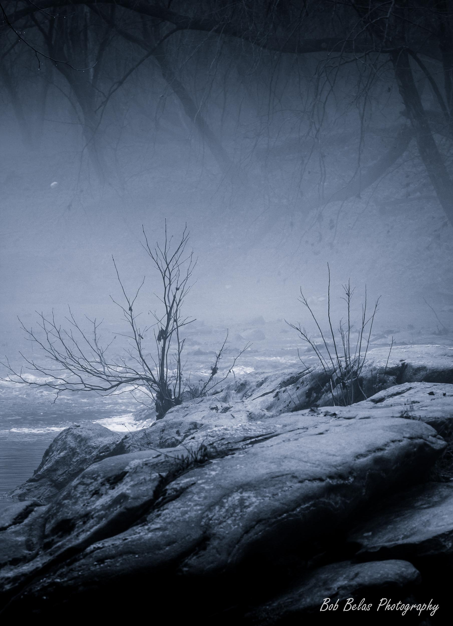 River Fog #4, toned monochrome