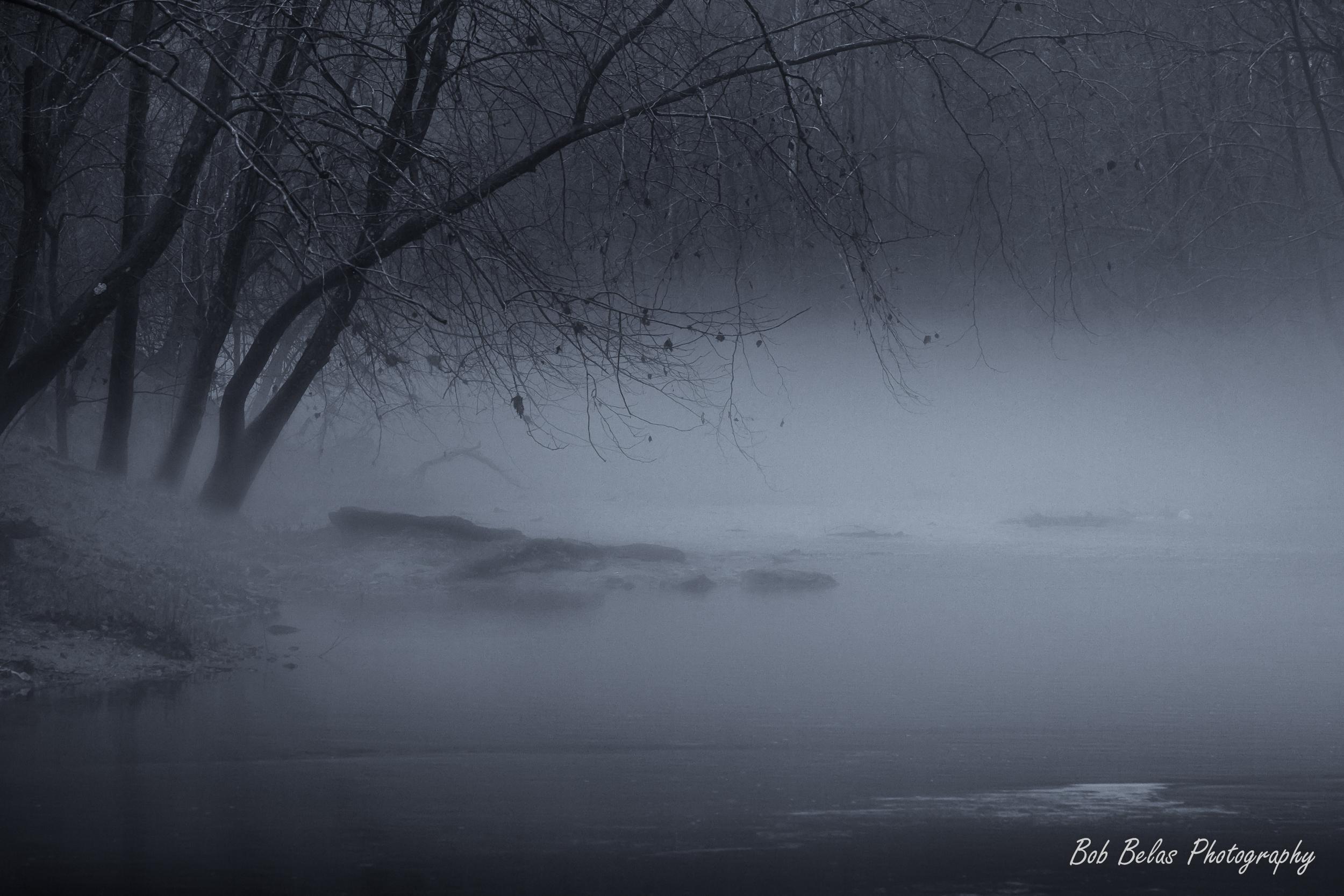 River Fog #2, toned monochrome