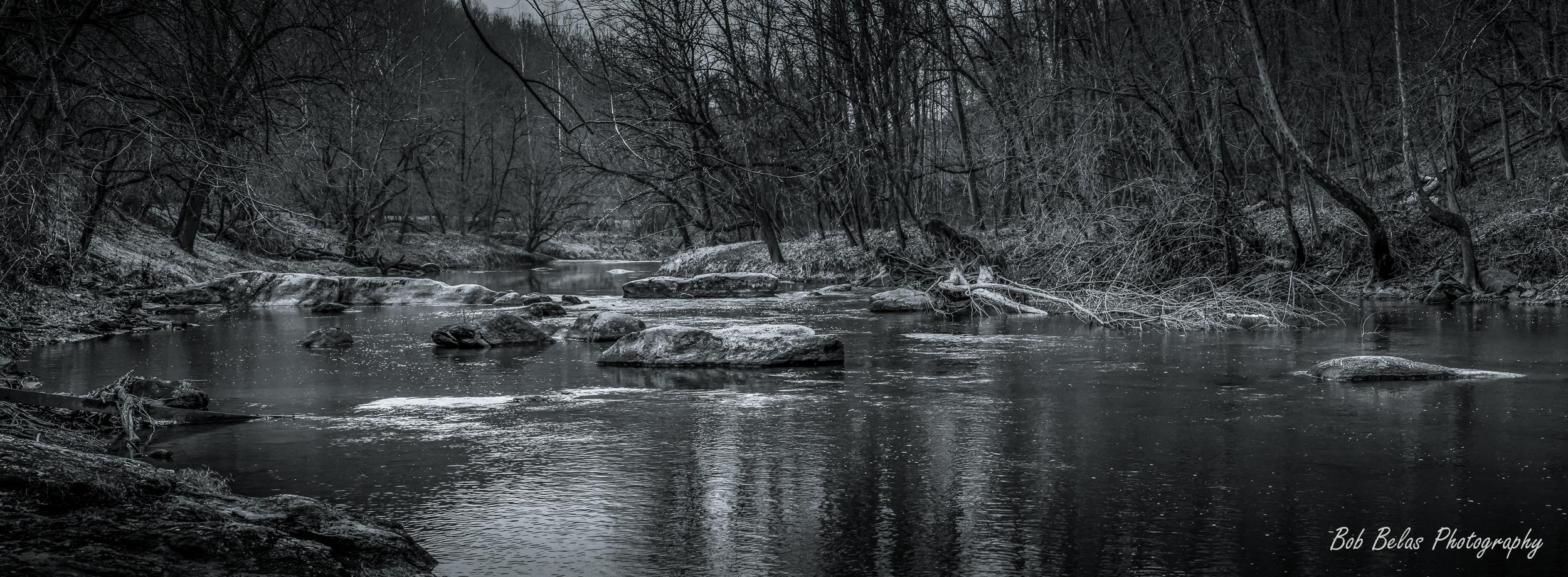 River Rocks #1, panorama, monochrome