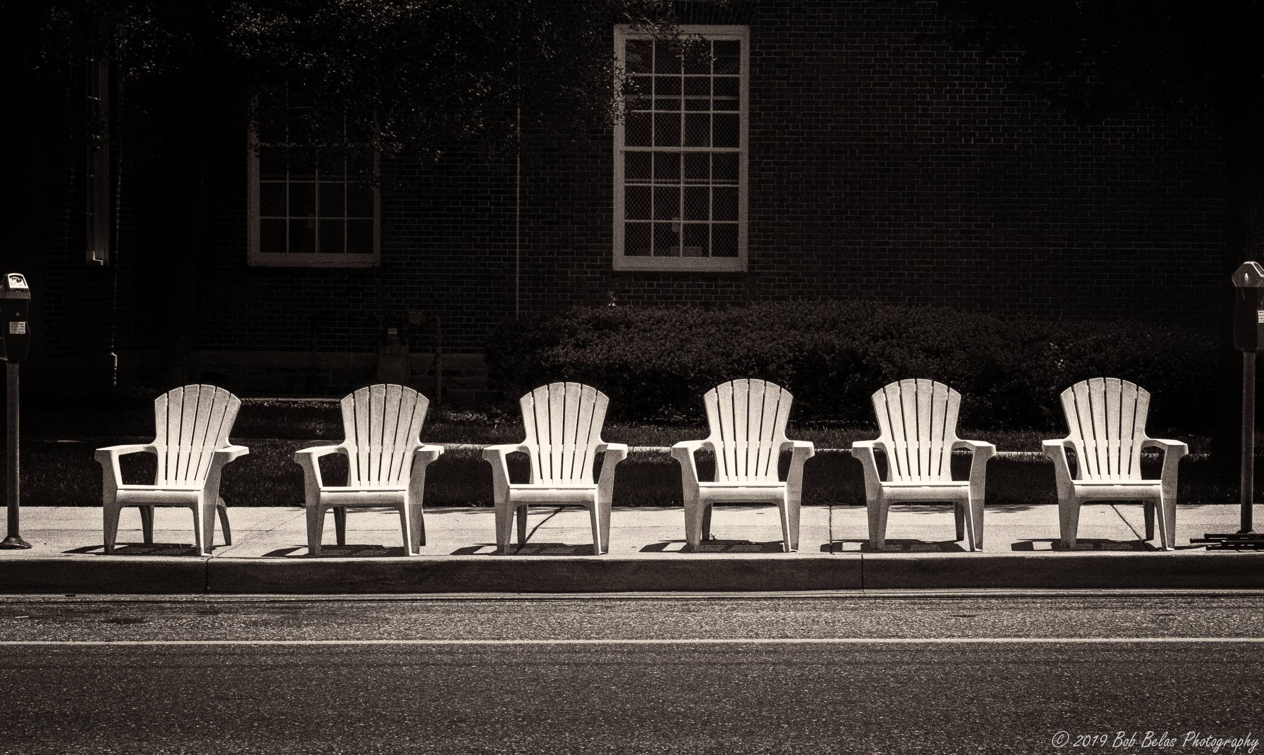 Six Chairs Waiting, duotone