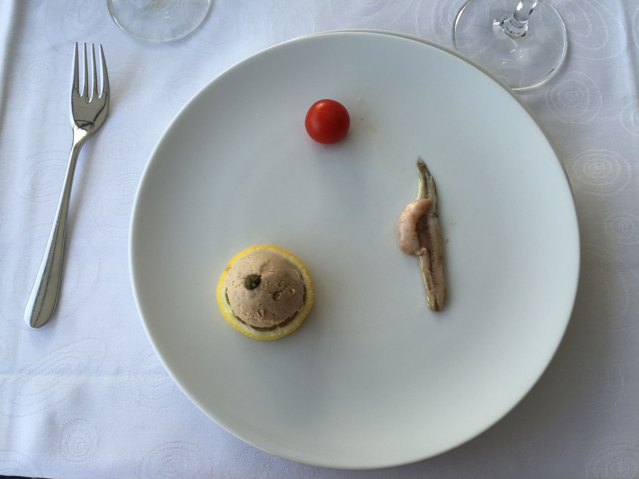 A strangely sparse food presentation in a restaurant in a small village outside Dubrovnik