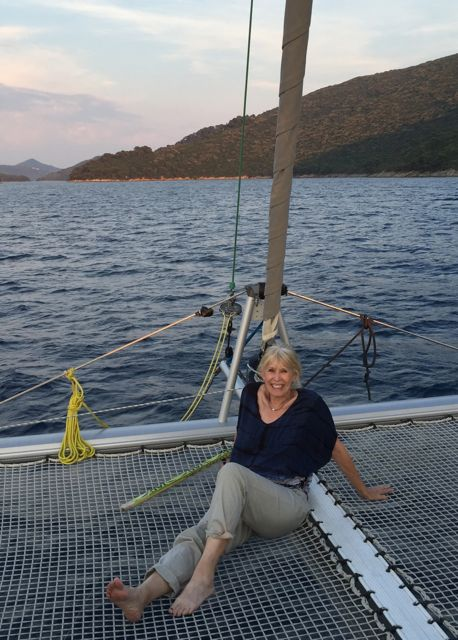 "Me on the front of the catarmaran, the ""Tom Sawyer,"" sailing thru the Adriatic Sea off the south coast of Croatia"