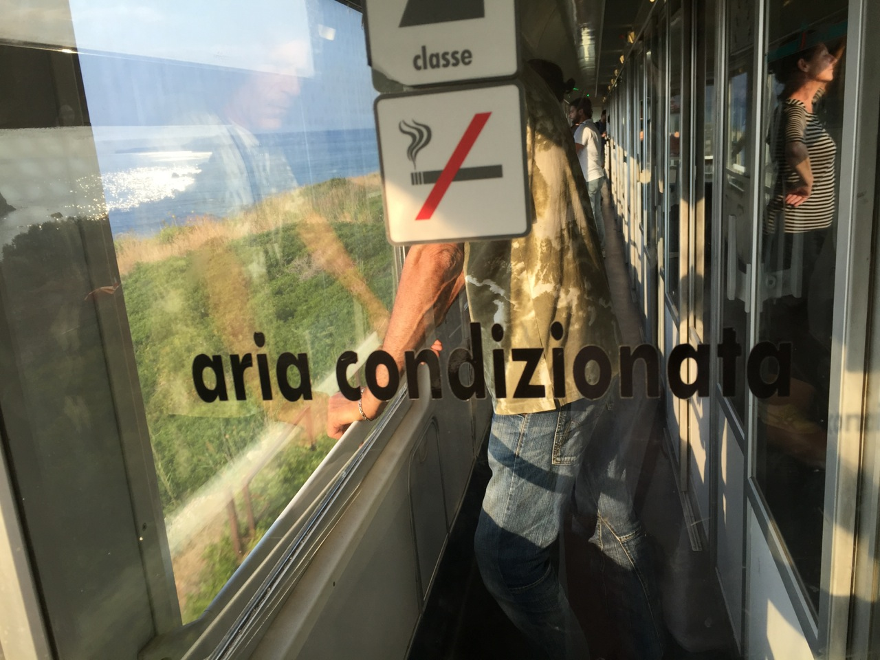 The train from Naples to Sicily was supposed to be air-conditioned, but it wasn't working. Smoking is not allowed on the trains, but people smoked at each stop in the vestibules.