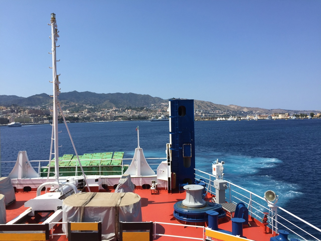 The train loaded both its passengers and passenger cars onto the ferry crossing the channel from the toe of Italy to Messina, Sicily. We were thankful for the fresh air on deck!