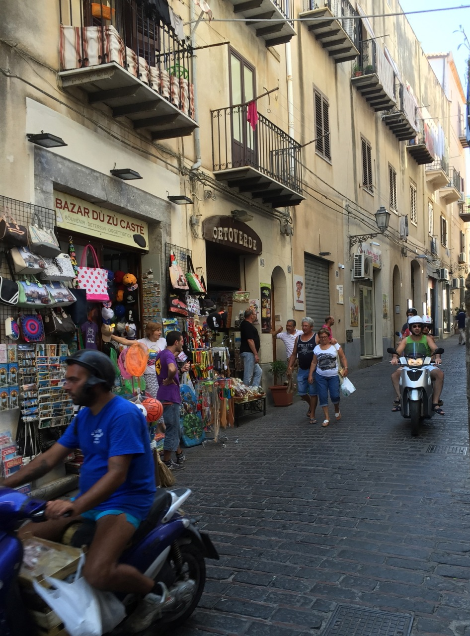 The streets of the old city in Cefalu, Sicily are closed to vehicular traffic, except for taxis and vehicles of residents.