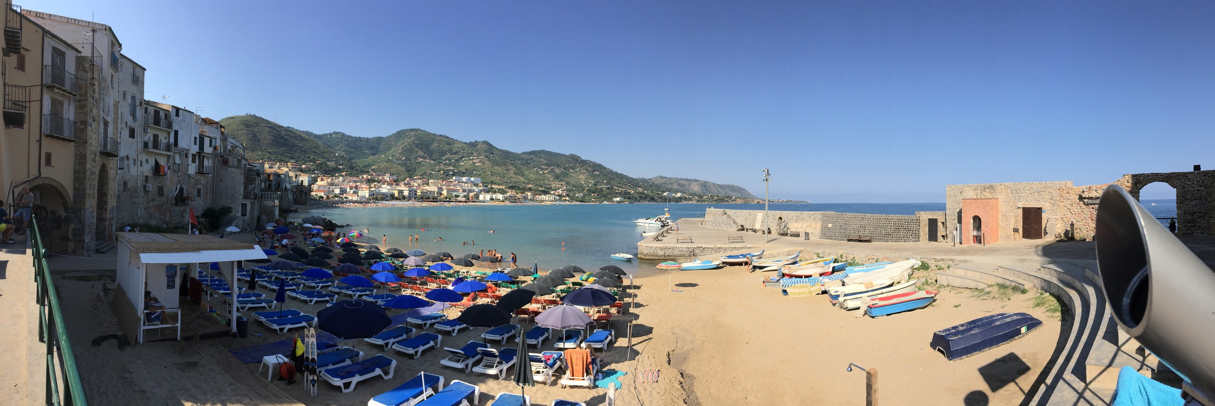 The beach at the city of Cefalu, Sicily