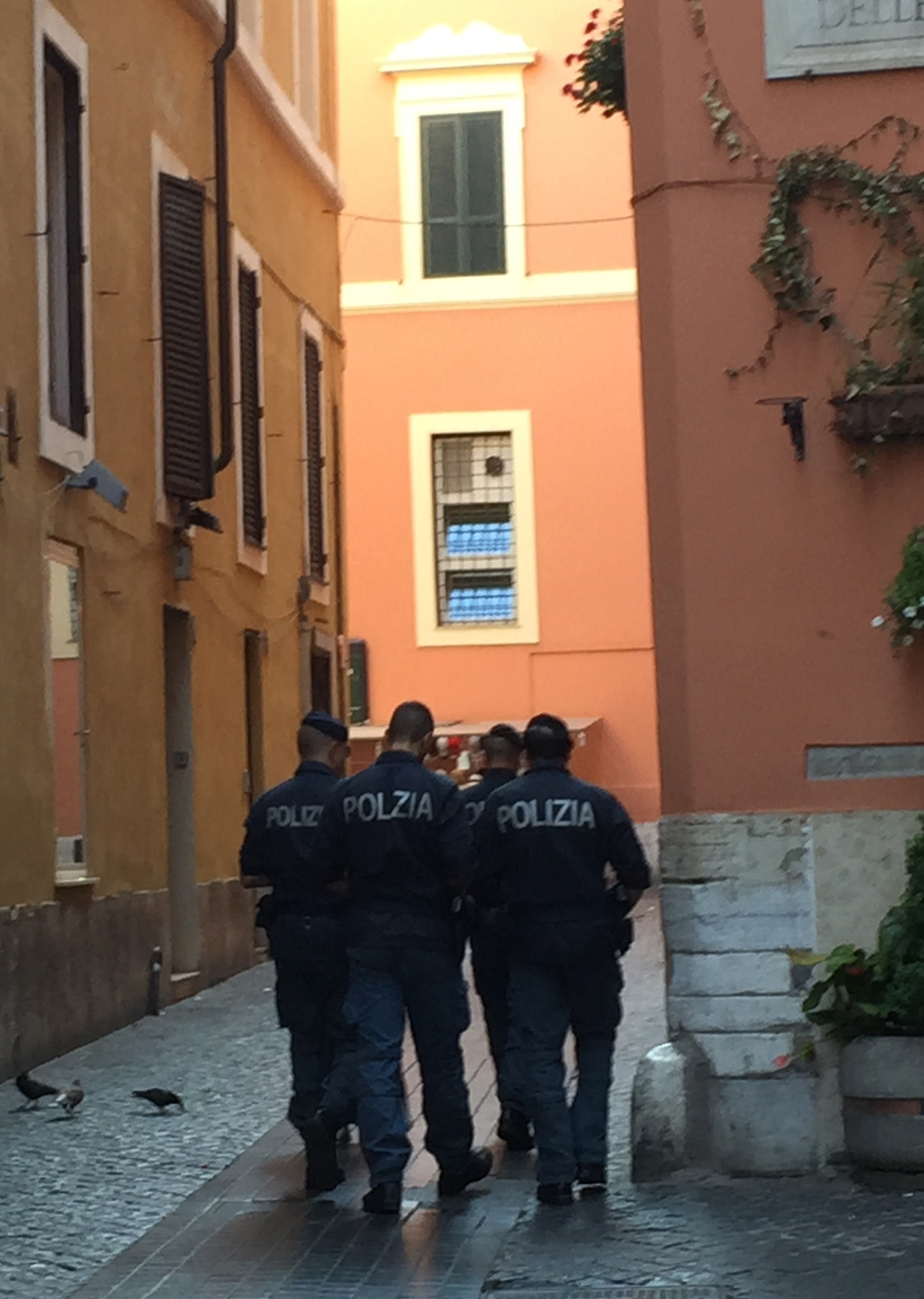 In Rome, the Polizia were actively patrolling tourist areas, such as this path to the Pantheon.