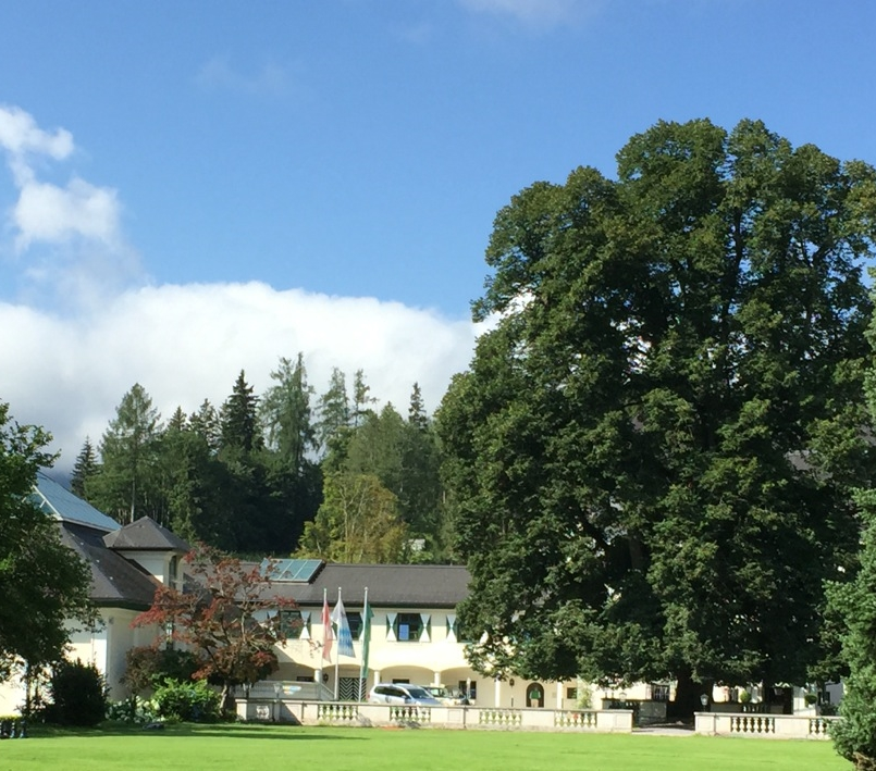 An ancient and majestic Linden tree dominates the entrance to the Schloss Pichlarn Hotel