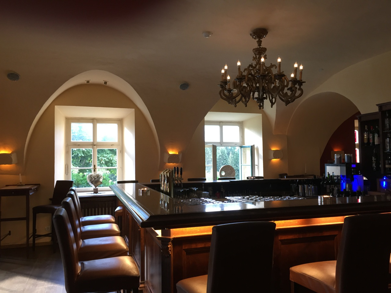 The bar where I took most of my evening meals at the Schloss Pichlarn Hotel.