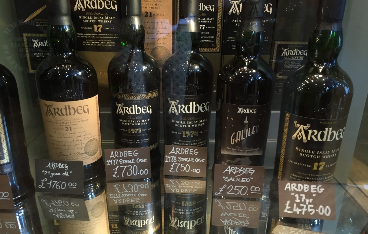 I took this photo in a liquor store in Edinburgh to show pricing for older bottles of single malt, in this case Ardbeg.