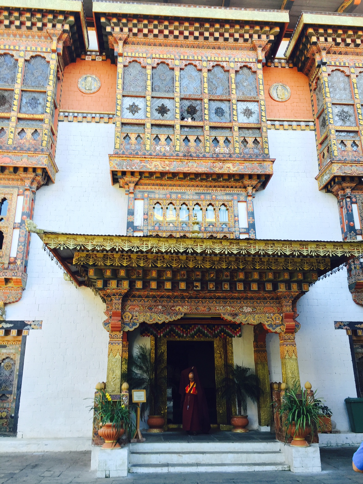 Everywhere in Bhutan, buildings of all types are handpainted with beautiful Buddhist designs. This is a monastery in the Dhzong in Thimphu.
