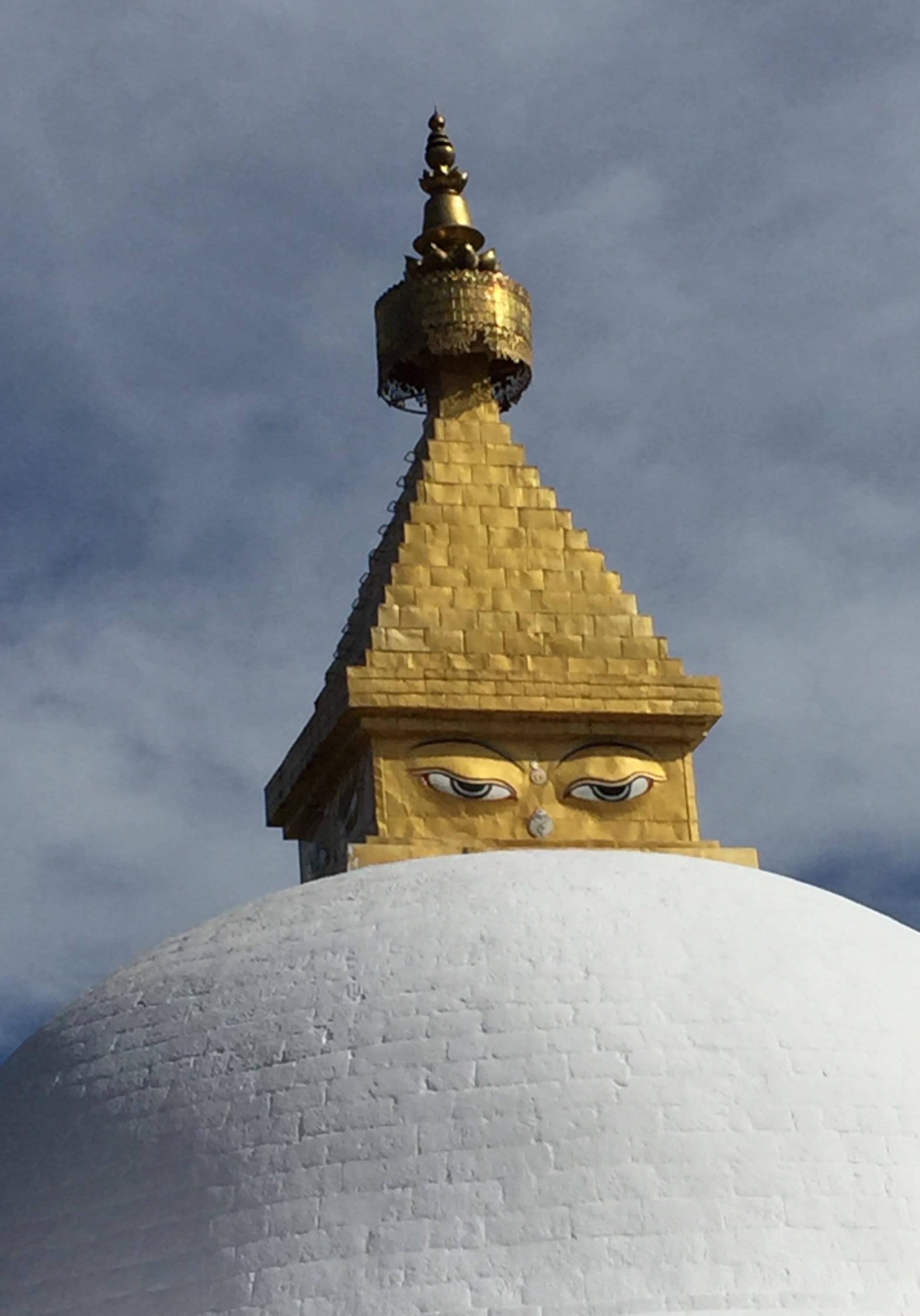 The stupa at the nunnery on a mountain near Thimphu, Bhutan.