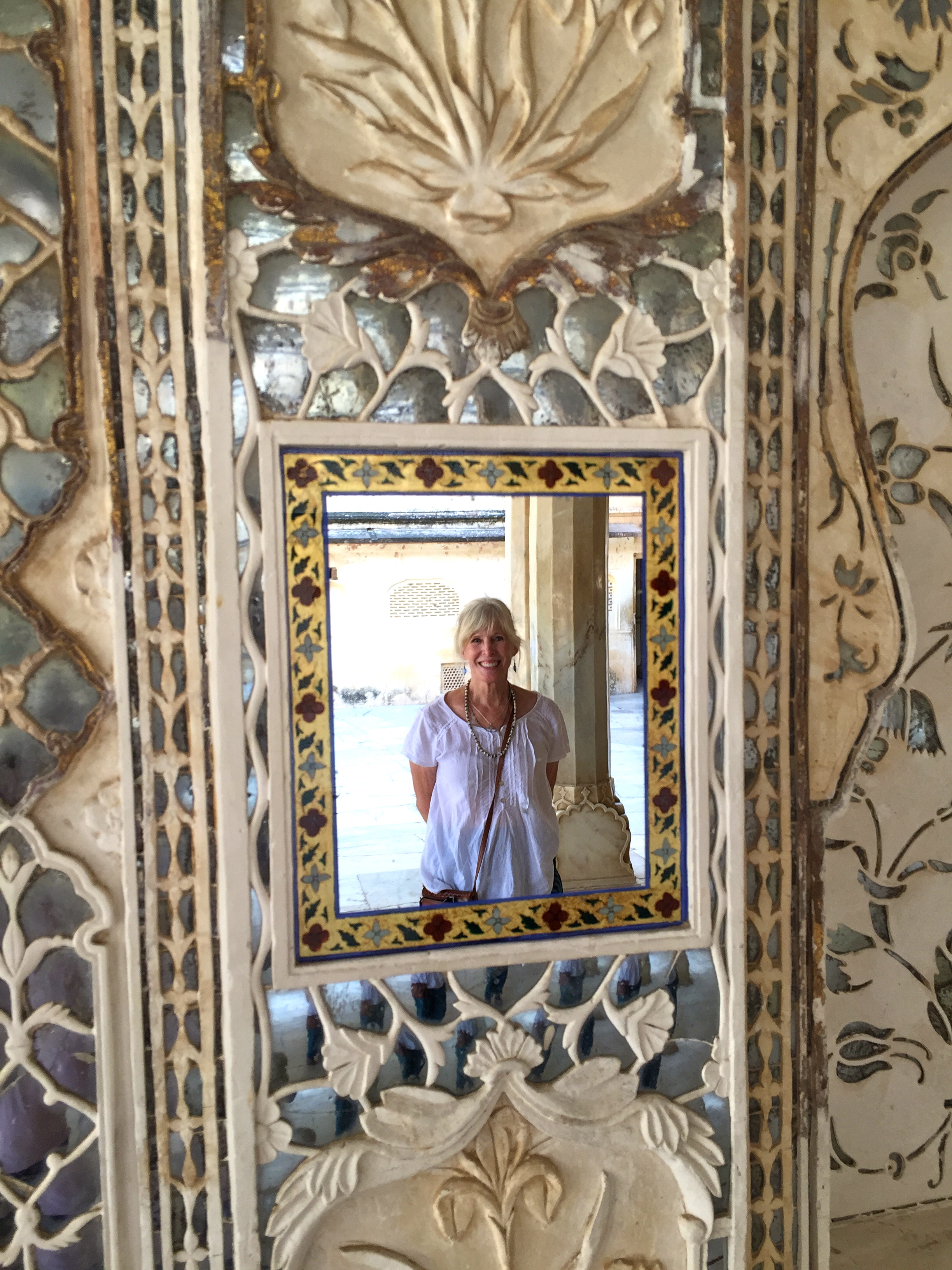 Ornately mirrored walls and ceilings of the Amber Palace, Jaipur invite self-reflection :-)