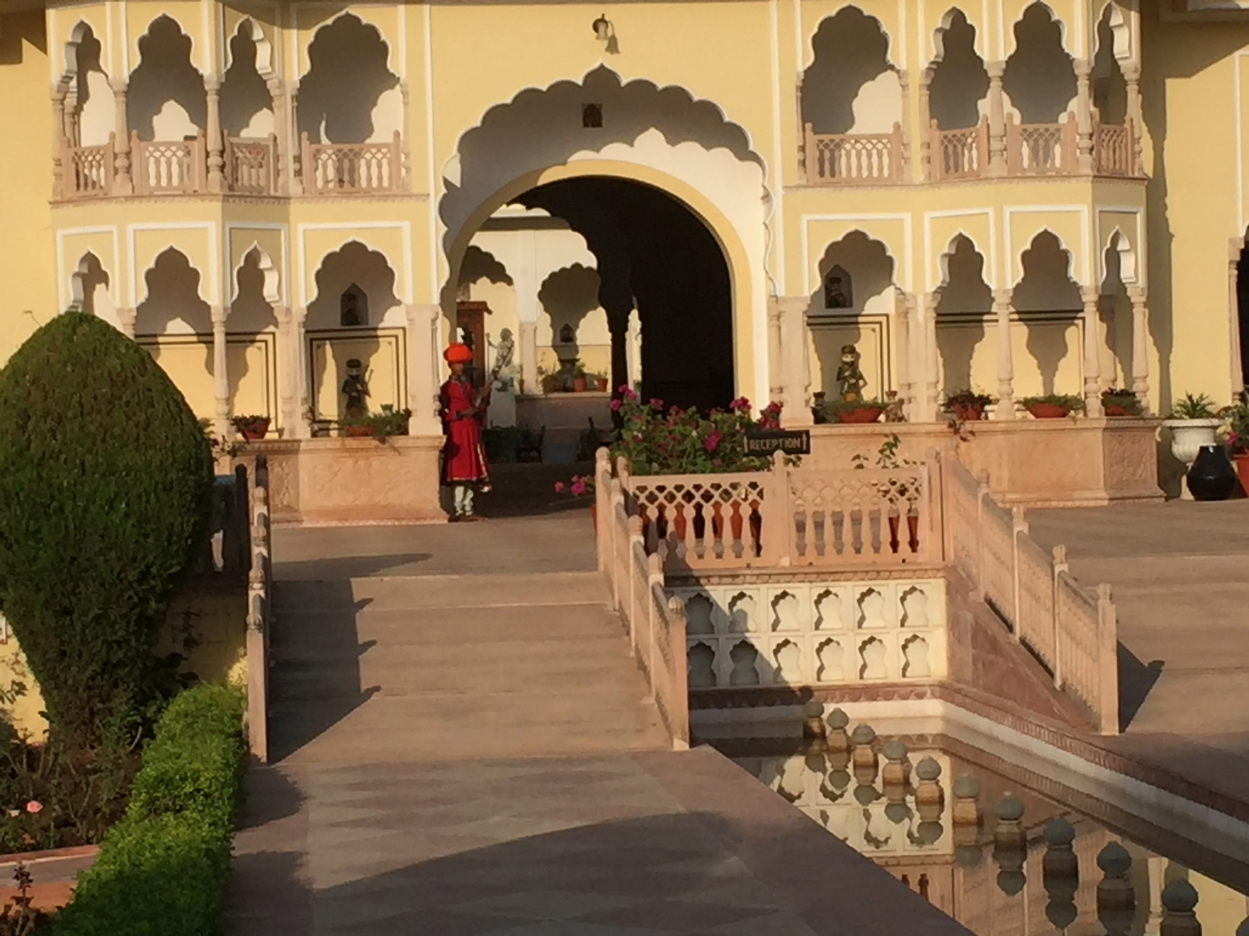 Entrance to the White Palace Hotel, near Rathambore National Park, a tiger sanctuary.