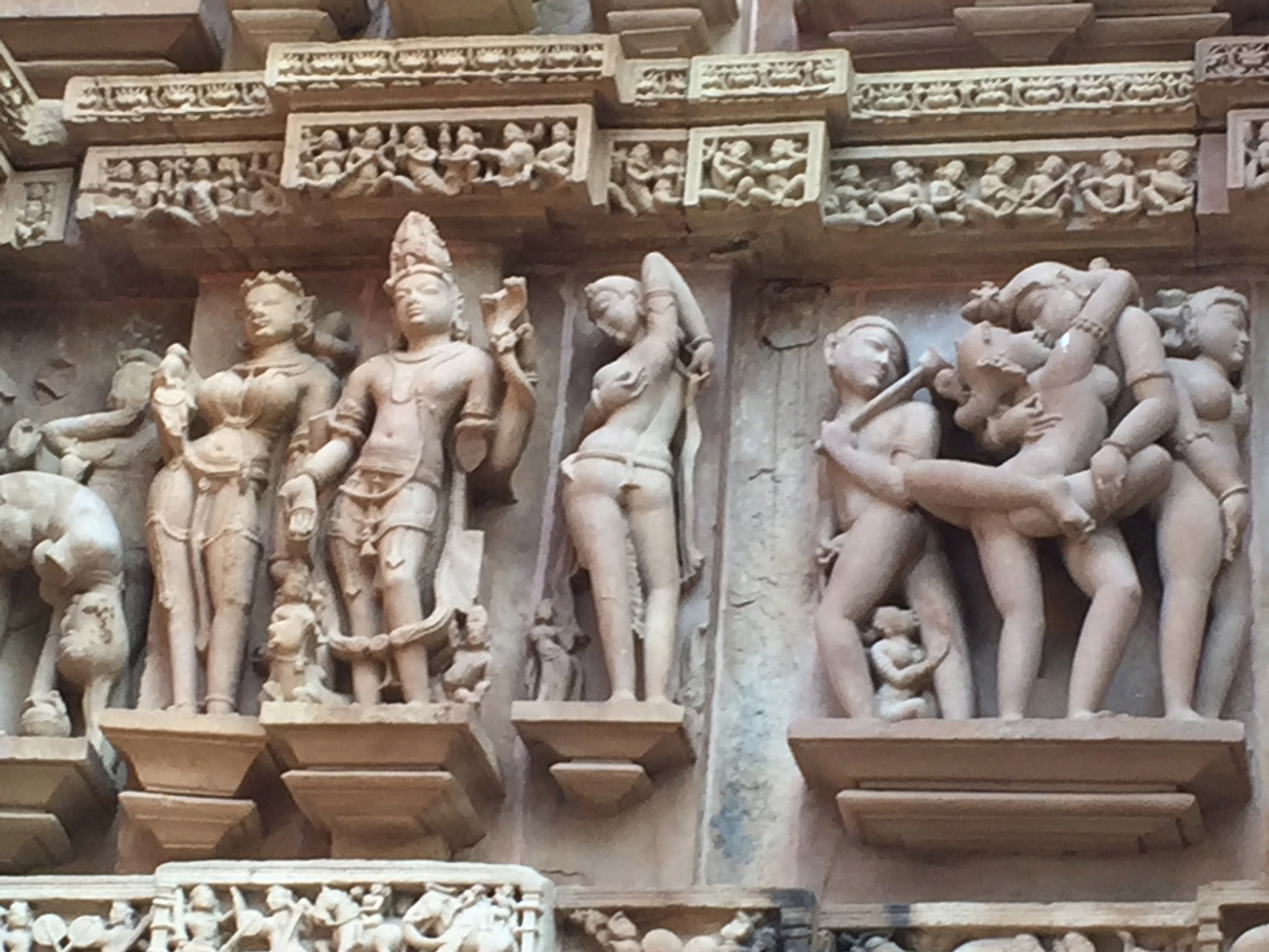 Relief carvings, including erotic art, on the walls of the Khajuraho Group of Temples in north central India.