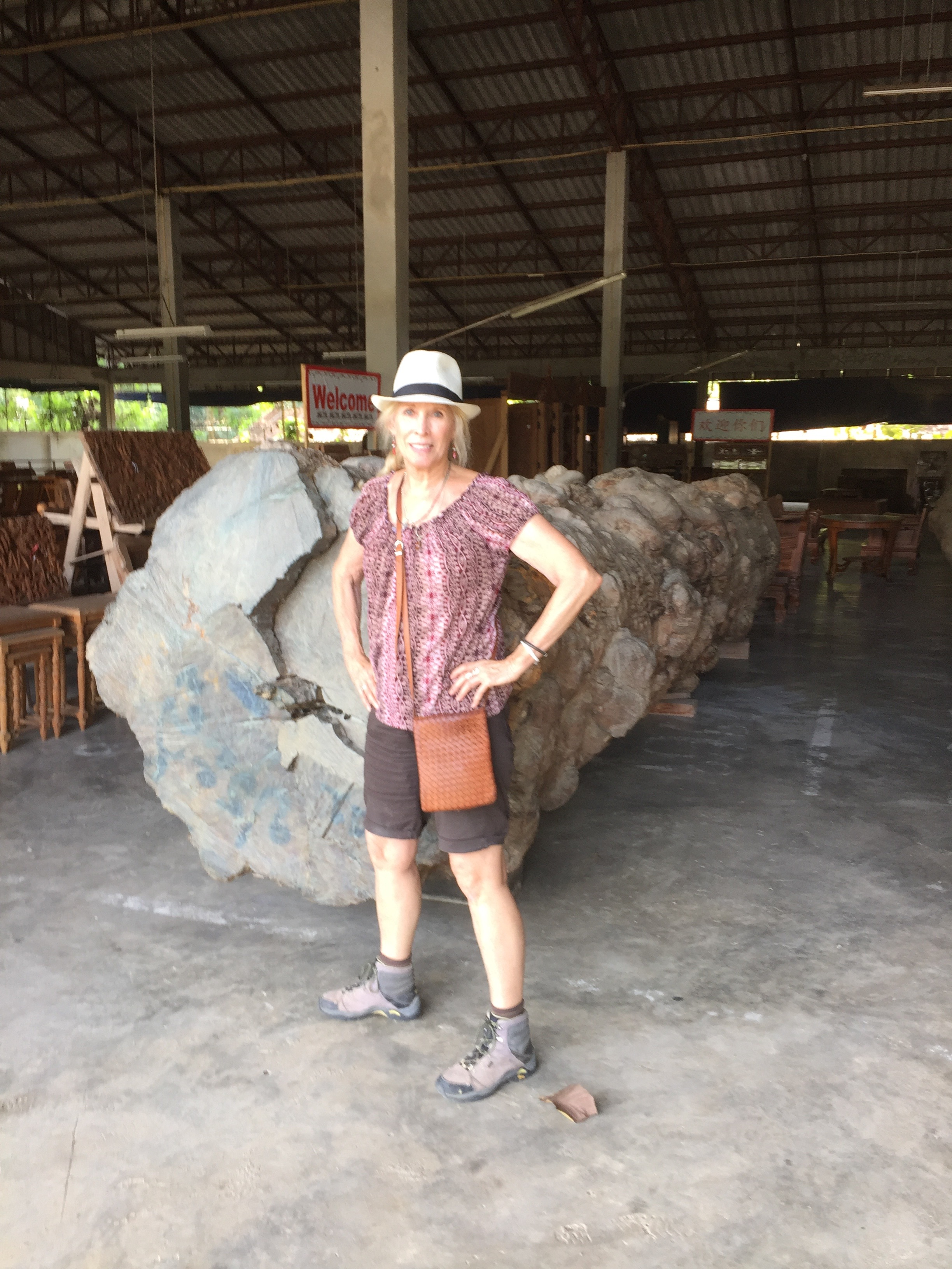 """Me next to an old growth teak tree on the floor of the teak furniture manufacturer's warehouse in Chang Mai. This will be used to make lawn furniture. Yet, the warehouse claims to make furniture only out of """"sustainably harvested"""" teak."""