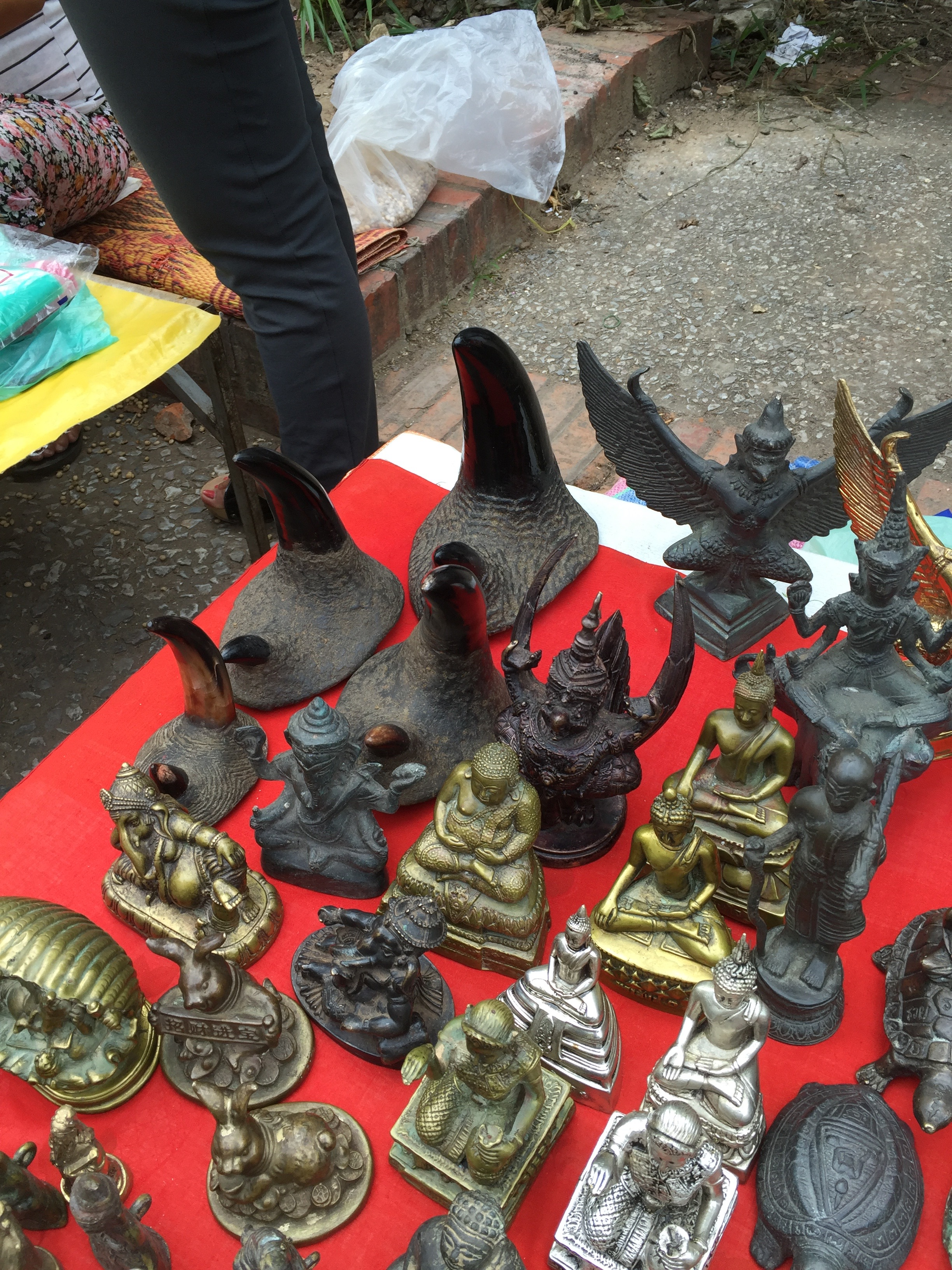 Rhinoceros horns for sale at the street market in Luang Prabang, Laos.