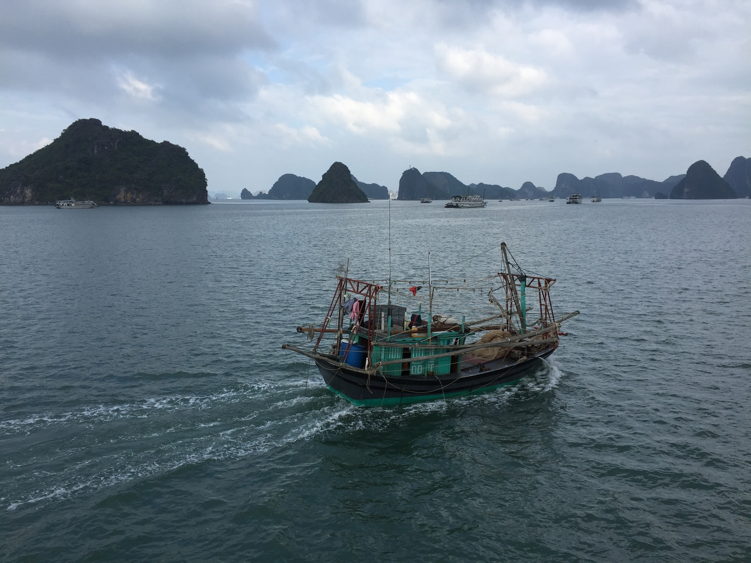 Halong Bay, within north Vietnam's Gulf of Tonkin and famous for incidents that led to the official beginning of the Vietnam War in 1965, is now a primary tourist destination in Vietnam