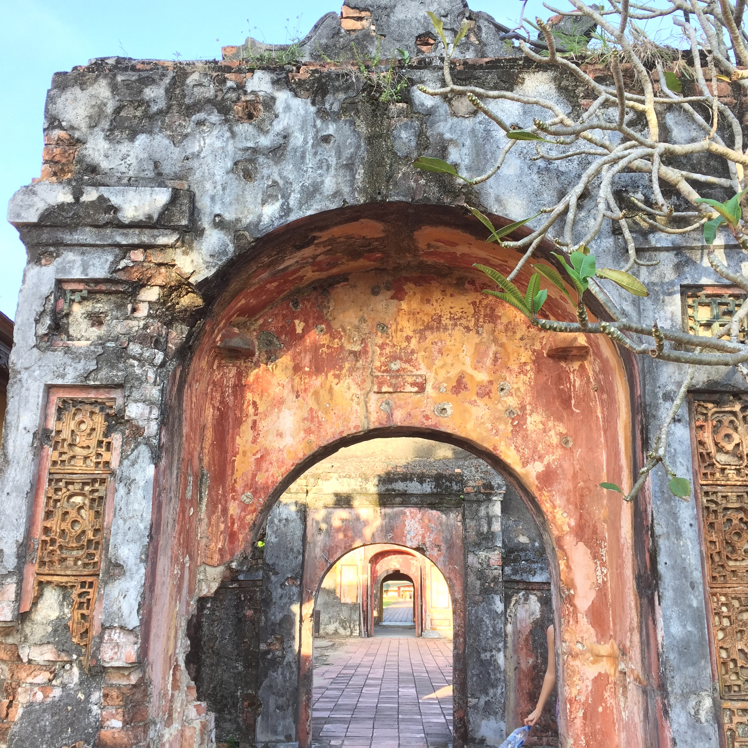 Ruins of the ancient Imperial City fortress in Hue, north Vietnam, heavily bombed by the U.S. during the Vietnam War. Restoration is still underway.