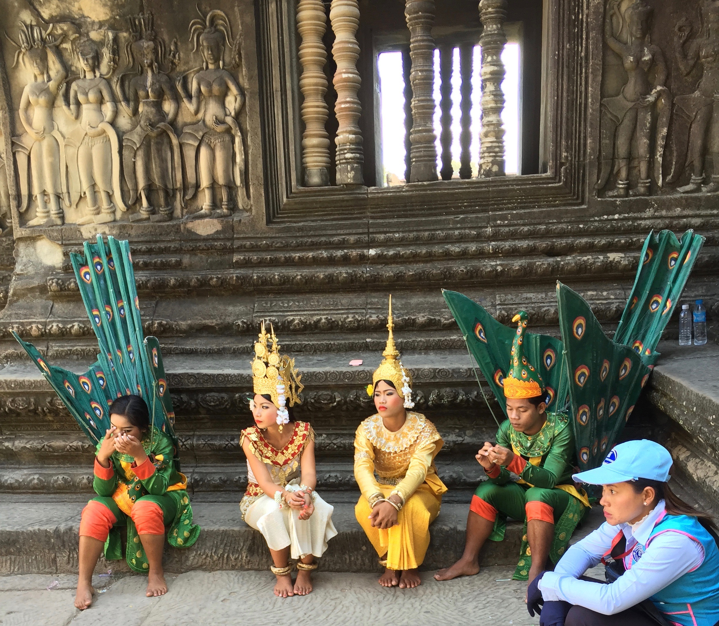 Intermission between dance performances at Angkor Wat.