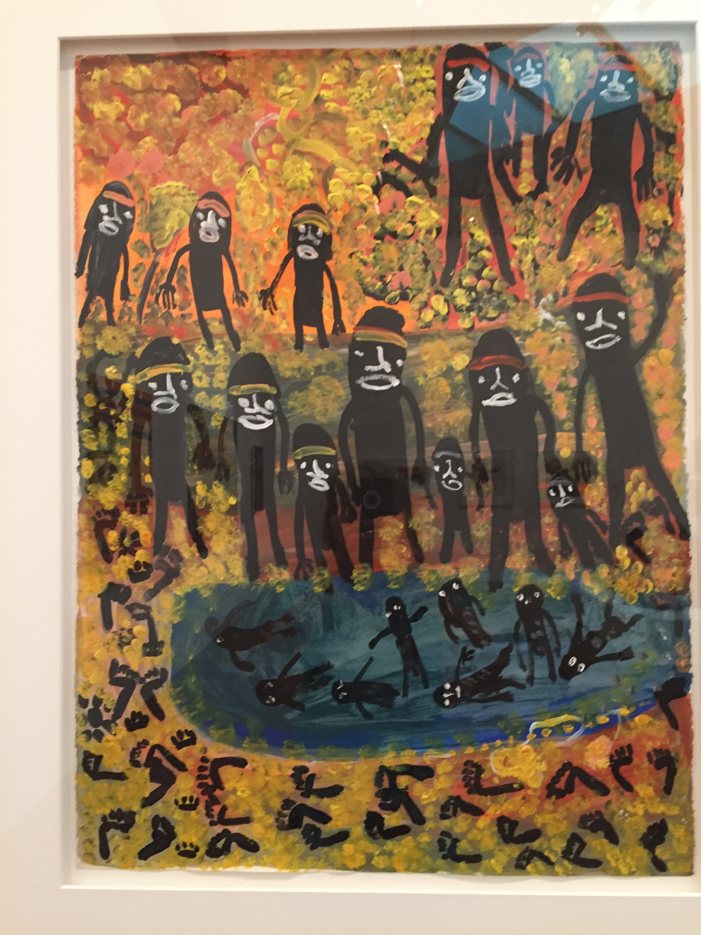 """Homelands,"" painting by Pantjiti Mary McLean, 1994 on display at the Ian Potter Gallery, NGV, Melbourne, Australia."