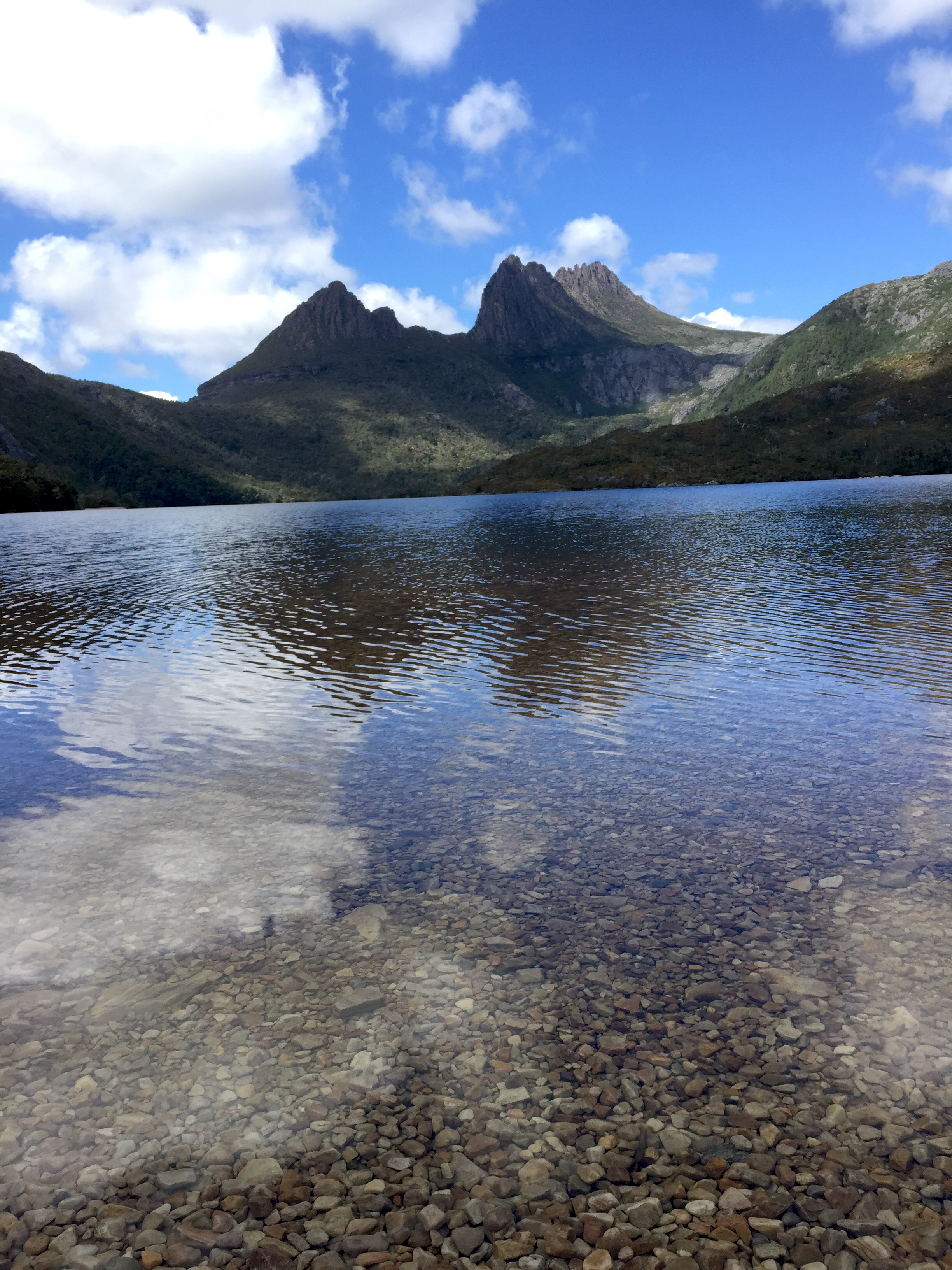 The crystalline waters of Dove Lake, at the base of Cradle Mountain, Tasmania.