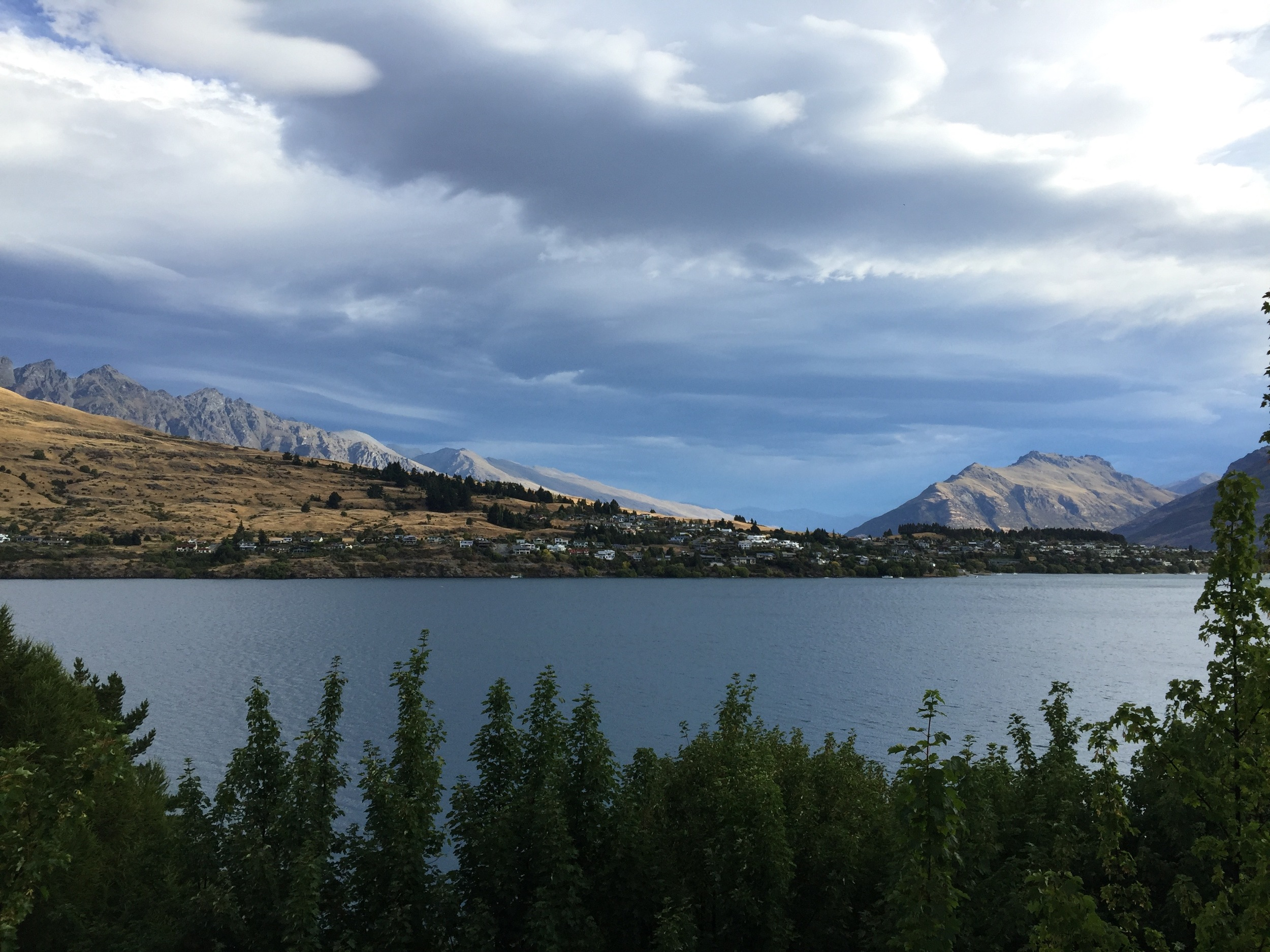 Looking across Lake Wakatipu to Queenstown from Frankton Rd., where the Sherwood Hotel is located.