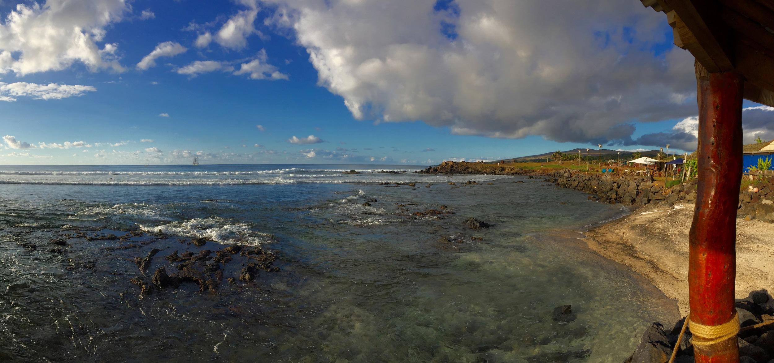 The coastline of Rapa Nui, or Easter Island, at Hanga Roa, the island's main town. The nearest populated island is PItcairn, 1,289 miles away.