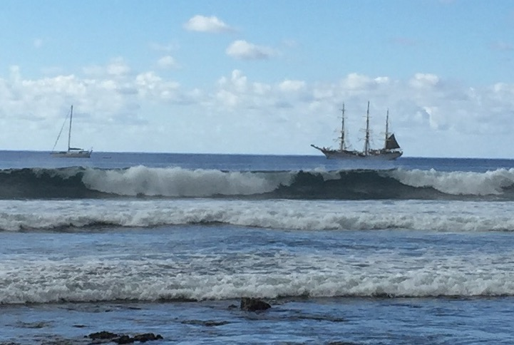 This schooner, which was anchored off the rocky coast of Easter Island during my stay, made me consider how rough it must have been for the original Polynesians to land here in their ancient boats in 700 A.D., and even for the Europeans in 1722.