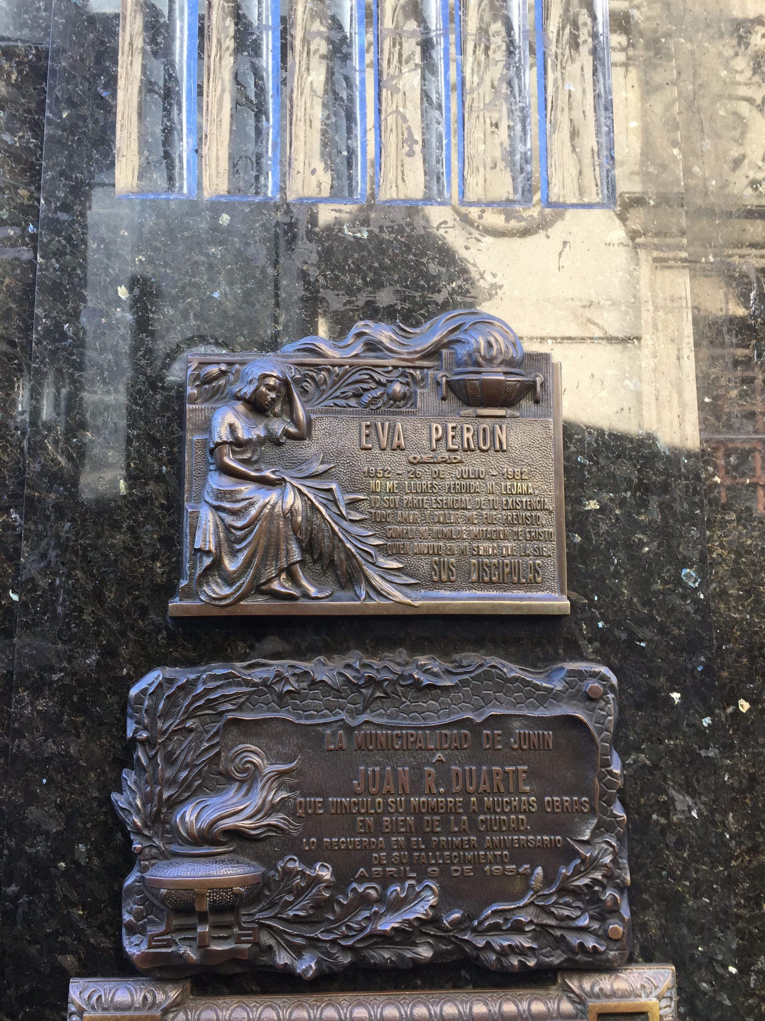 The marker on Eva Peron's tomb in the Recoleta Cemetery in Buenos Aires.