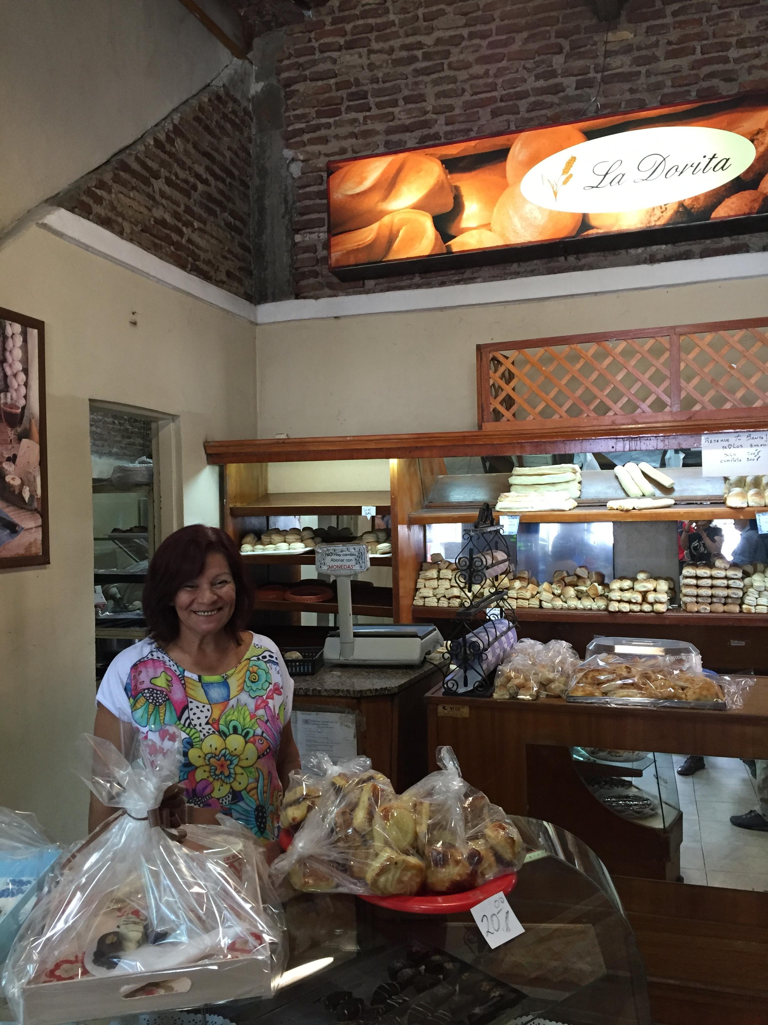 La Dorita Cafe in the La Boca district where this charming proprietor served wonderful pastries and coffee.