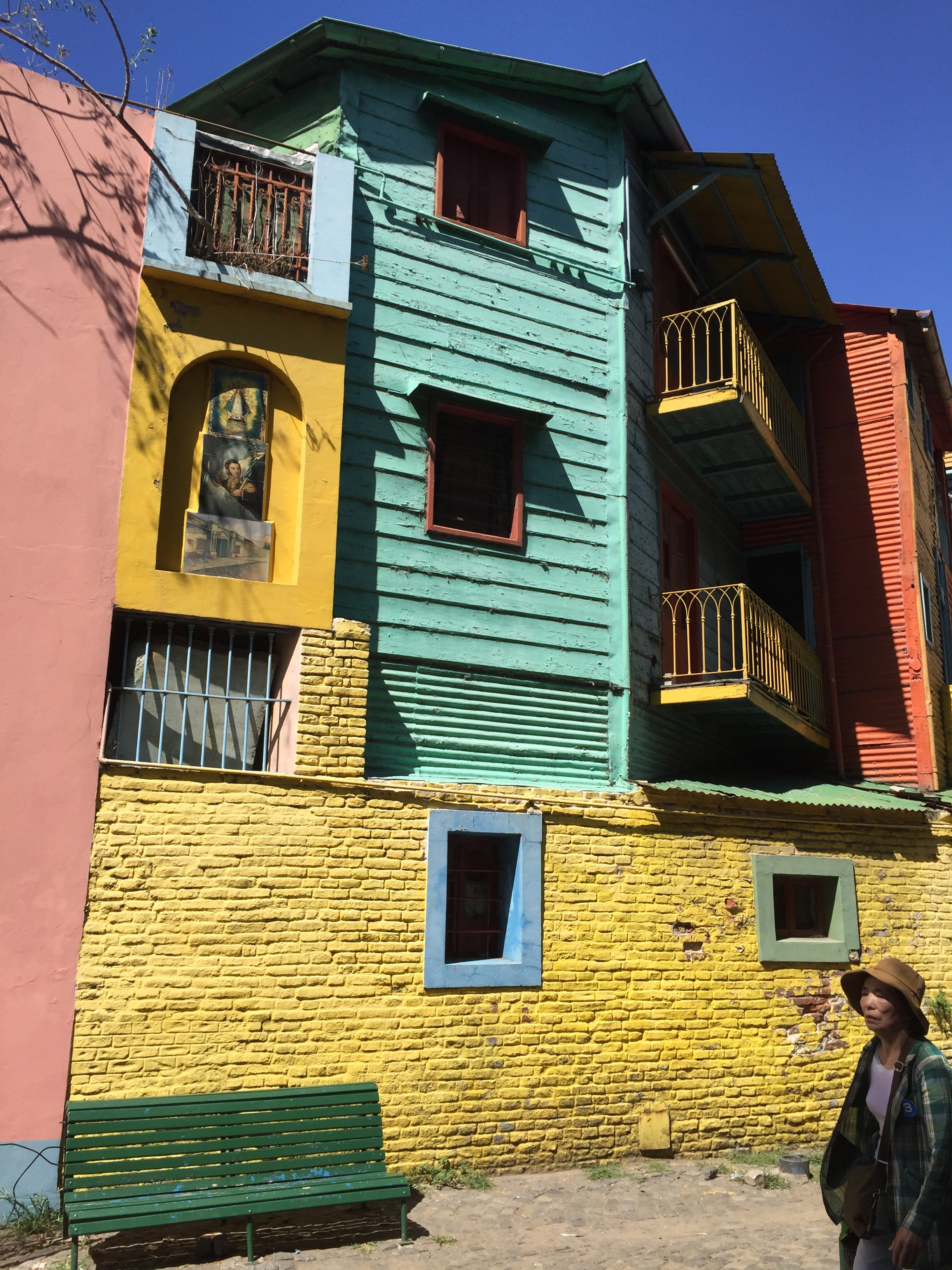 The buildings in the La Boca District are colorfully engaging.