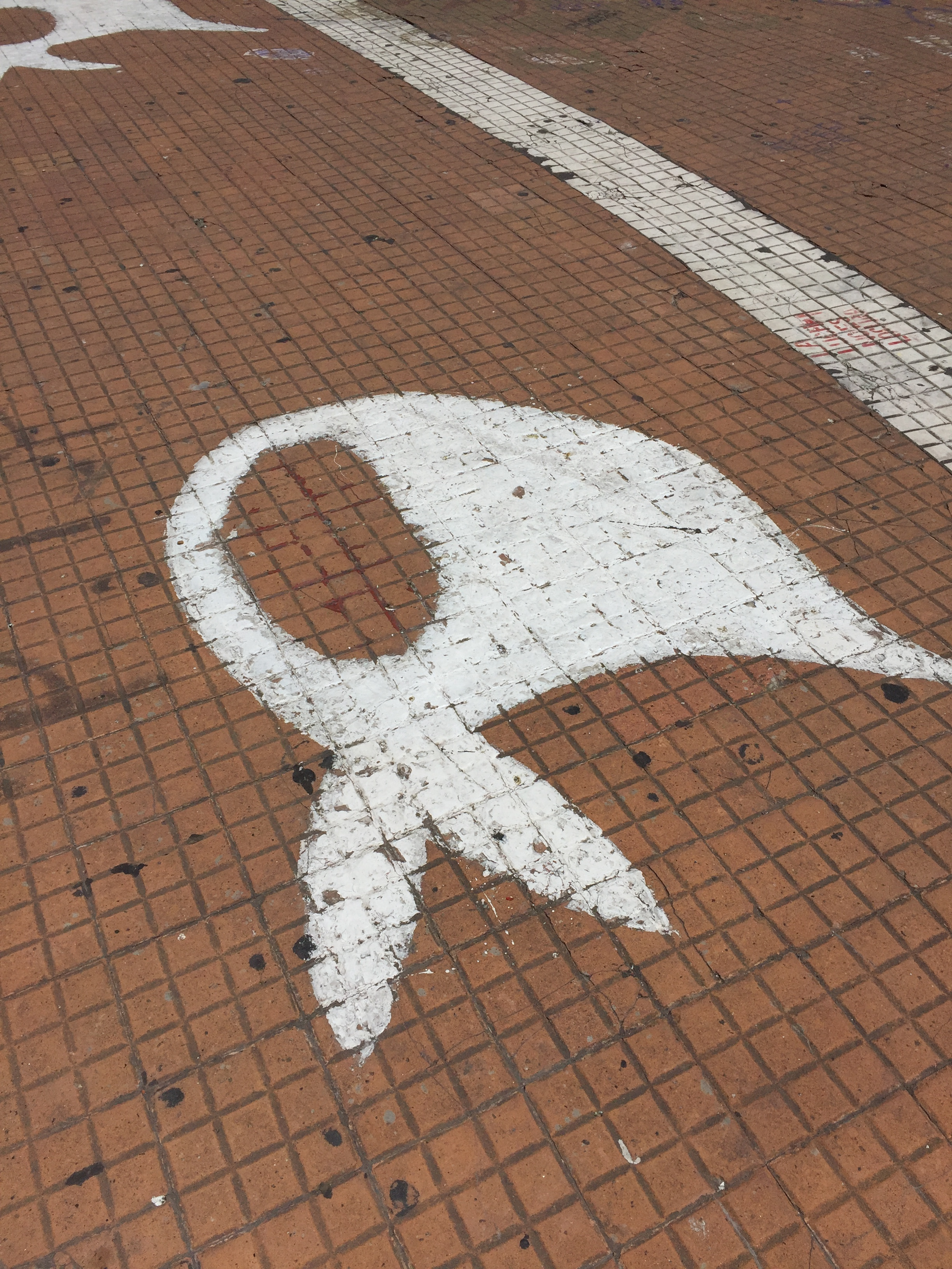 """The white kerchief, a symbol of justice for the thousands of missing citizens or """"Desaparecidos"""" still unaccounted for. The white kerchief symbol is found throughout public places in Argentina."""