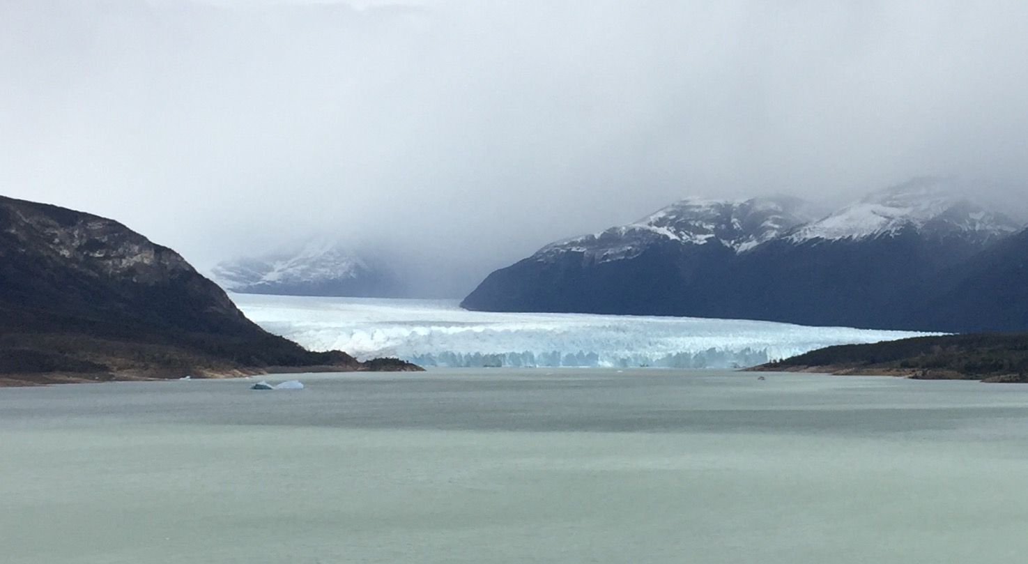 Approaching the Perito Moreno Glacier. Its front is 5 kilometers long, and it rises 60 meters (the height of a 20 story building) above the water.