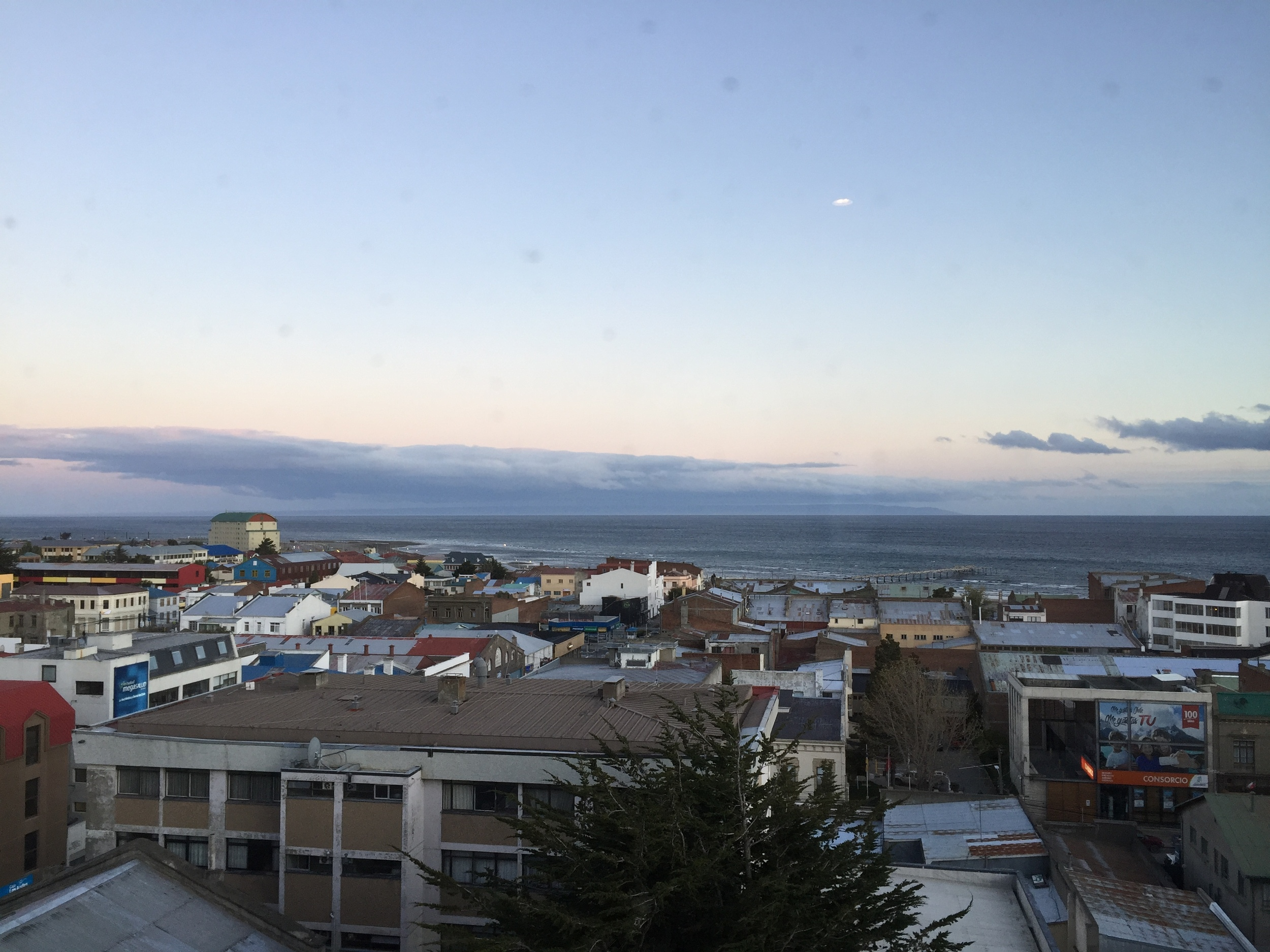 View from my hotel window in Punta Arenas, looking out at the Straits of Magellan, Chile, Patagonia.