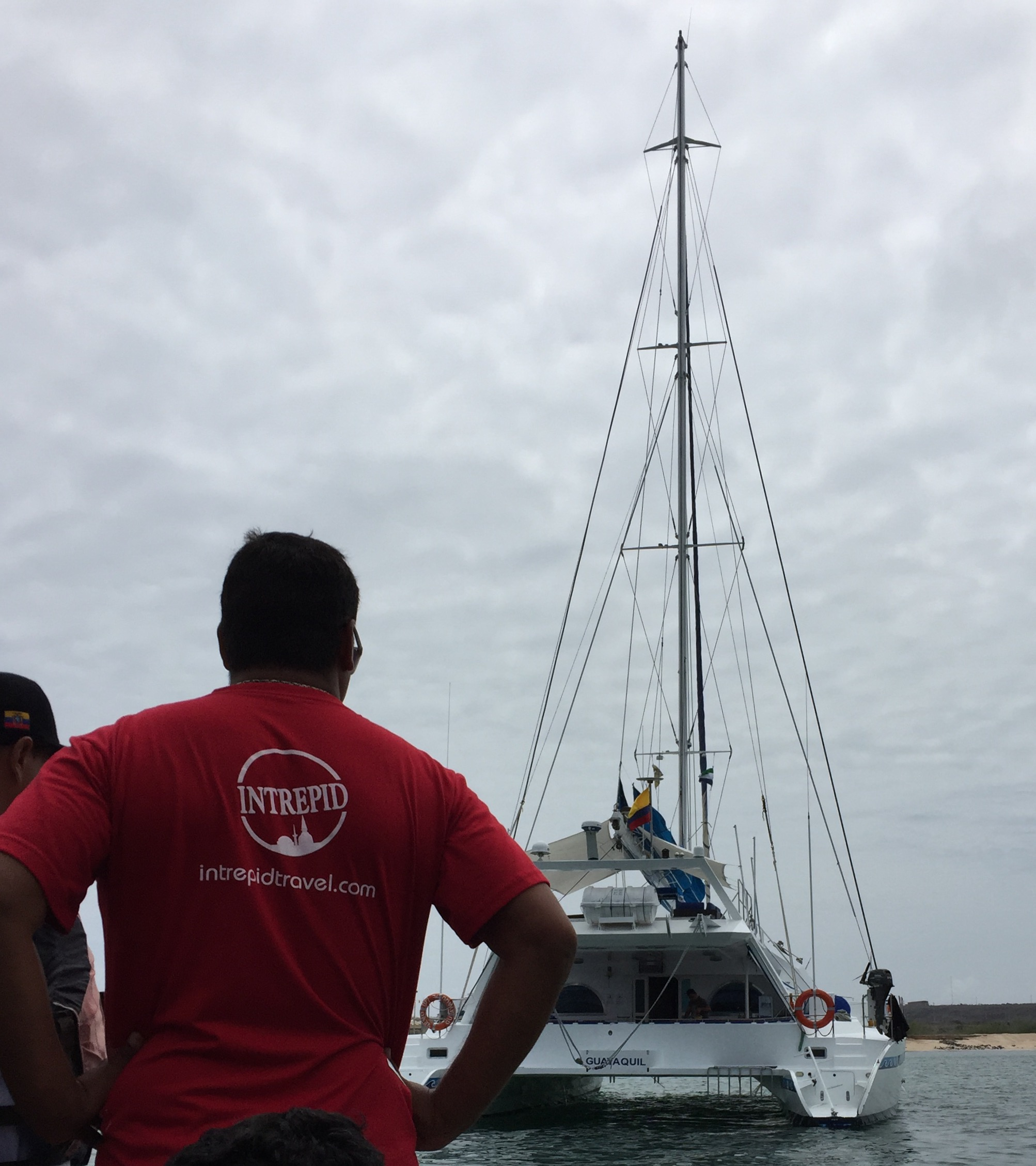 At Baltra, we approach the Nemo III, the 75-foot catamaran that would take us around the Galapagos Islands for 8 days.
