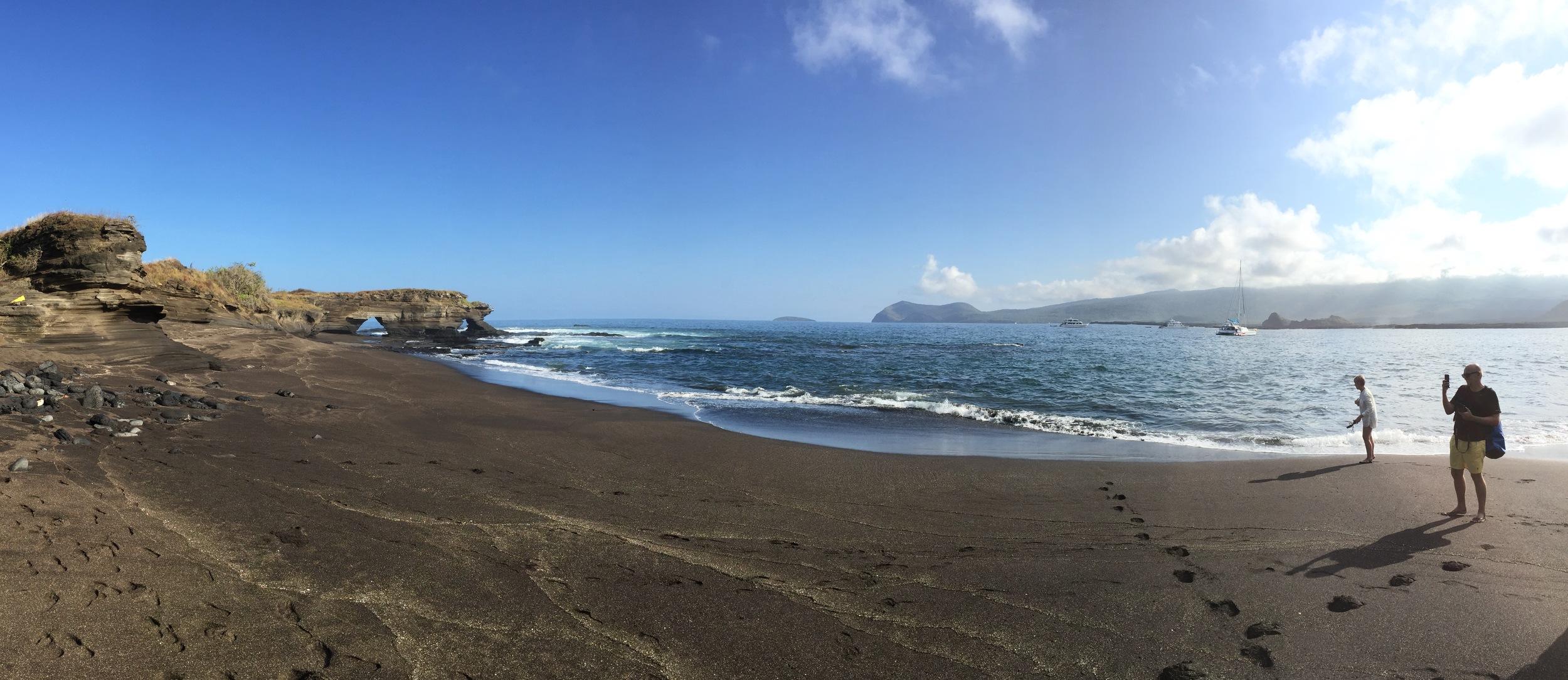On a black sand beach on Isla Santiago, a wildlife wonderland with surreal lava formations.