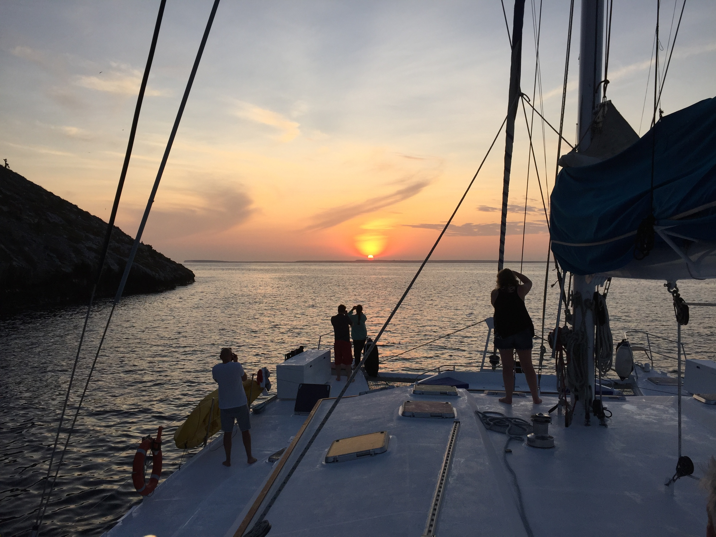 We circle Daphne Island at sunrise on the final day of our catamaran cruise. It was here that Peter and Rosemary Grant conducted their famous research about the Galapagos finches.