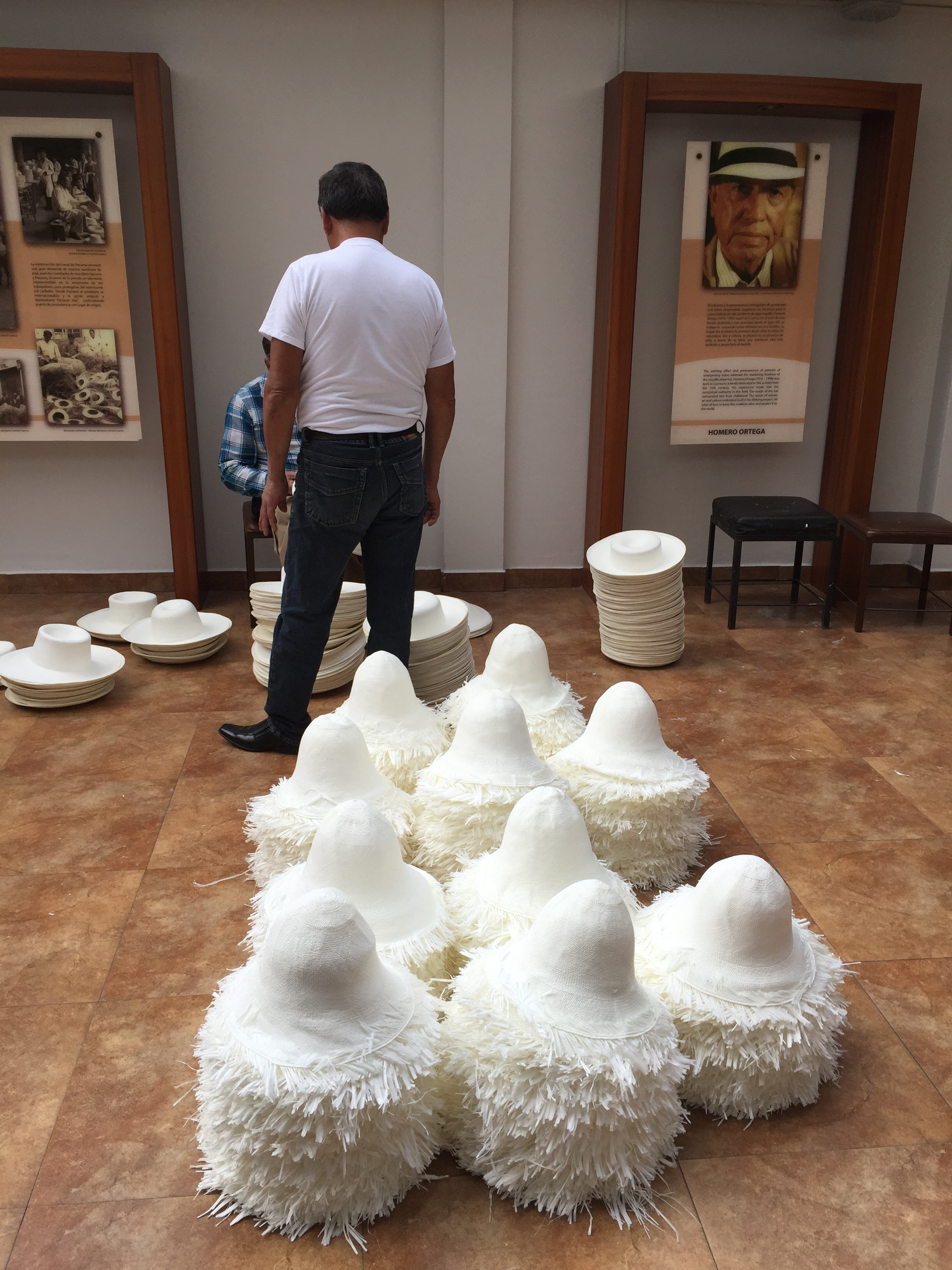 I visited the Homero Ortego hat factory in Cuenca, where world-famous Panama hats are made.