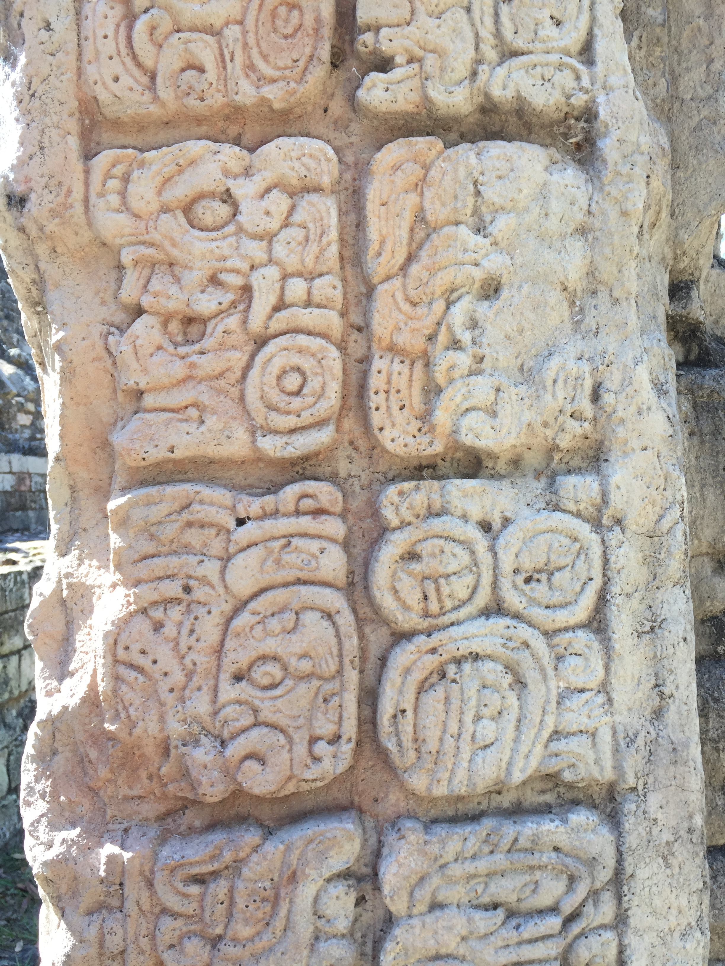 Beautiful heiroglyphics carved on stone tablet, Copán, Honduras.