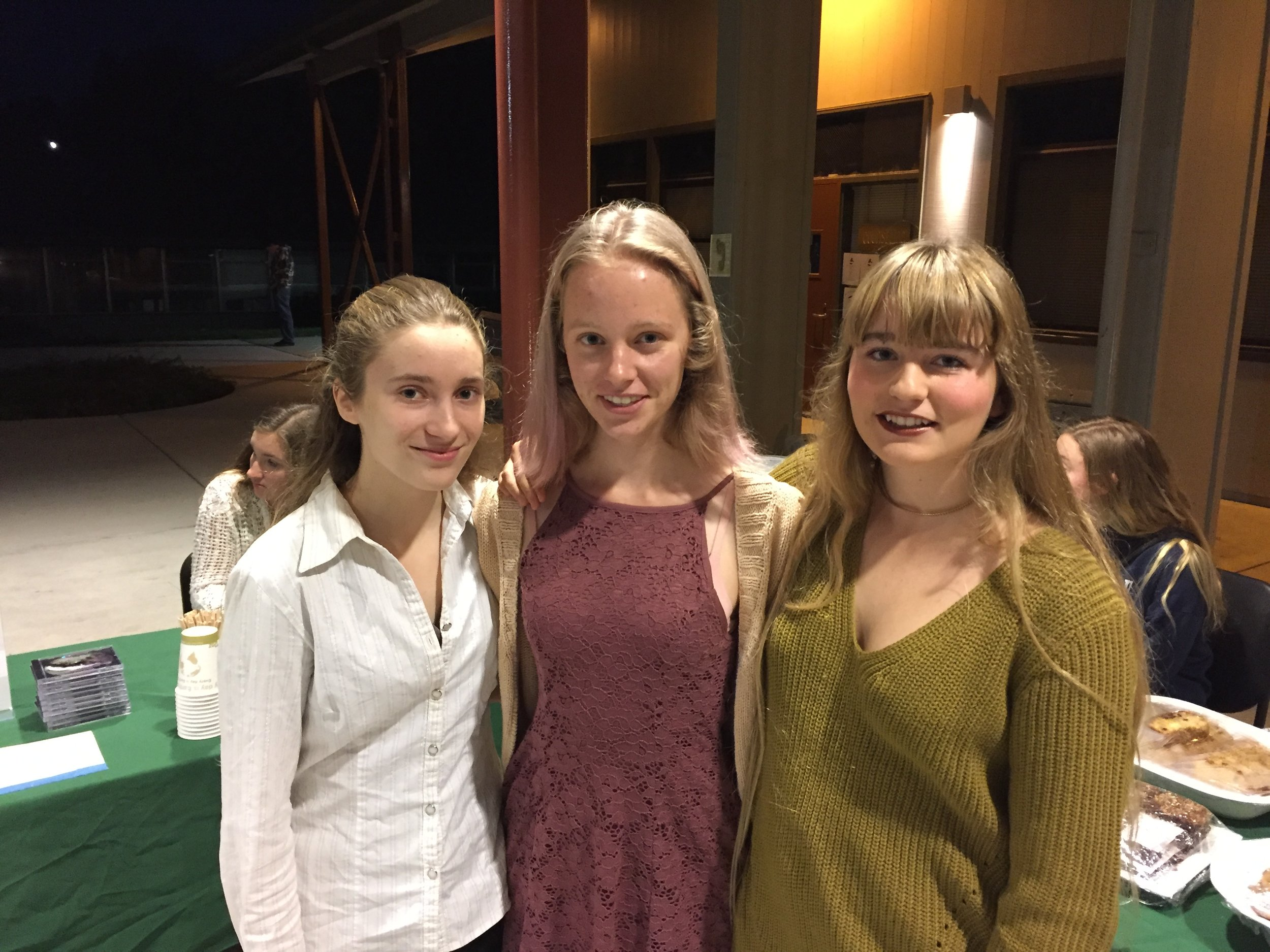 Haile Davis, left, Julianna Manseau and Kate Ussat helped organize the San Lorenzo Valley High School Environmental Conference on Dec. 12. Jane Orbuch — Contributed