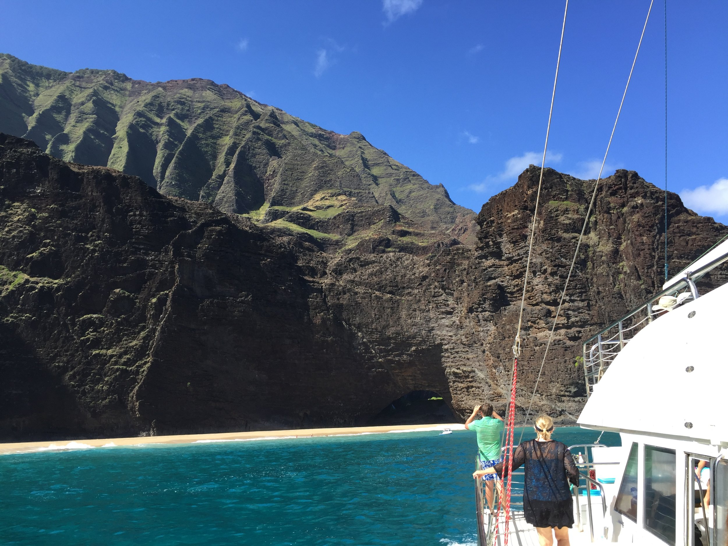 I took this shot of Kauai's Napali Coast from the deck of our catamaran . . . (August 2016)