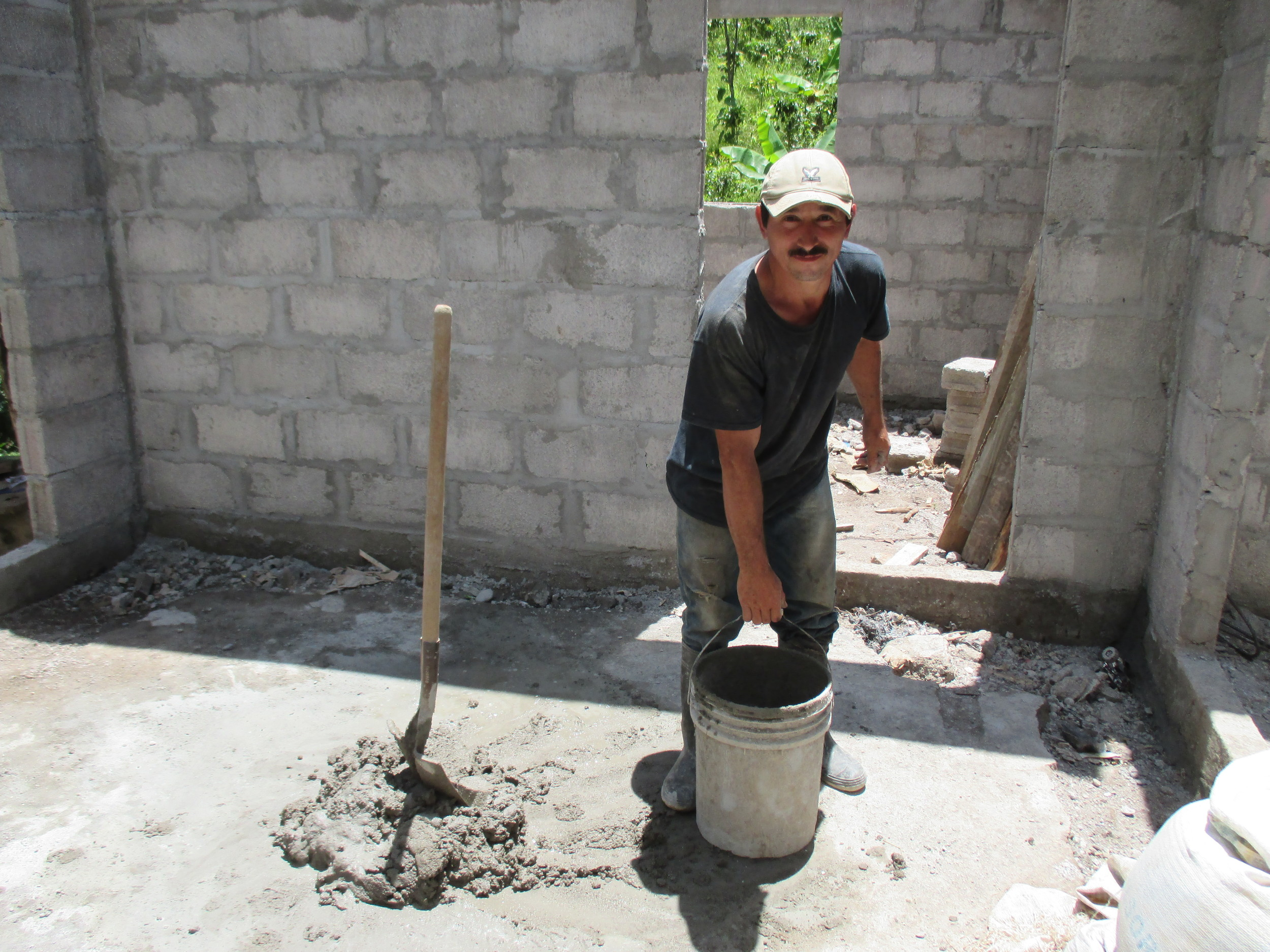 Ramón works on his new home--thanks you to you! - photo by Franklin Paz