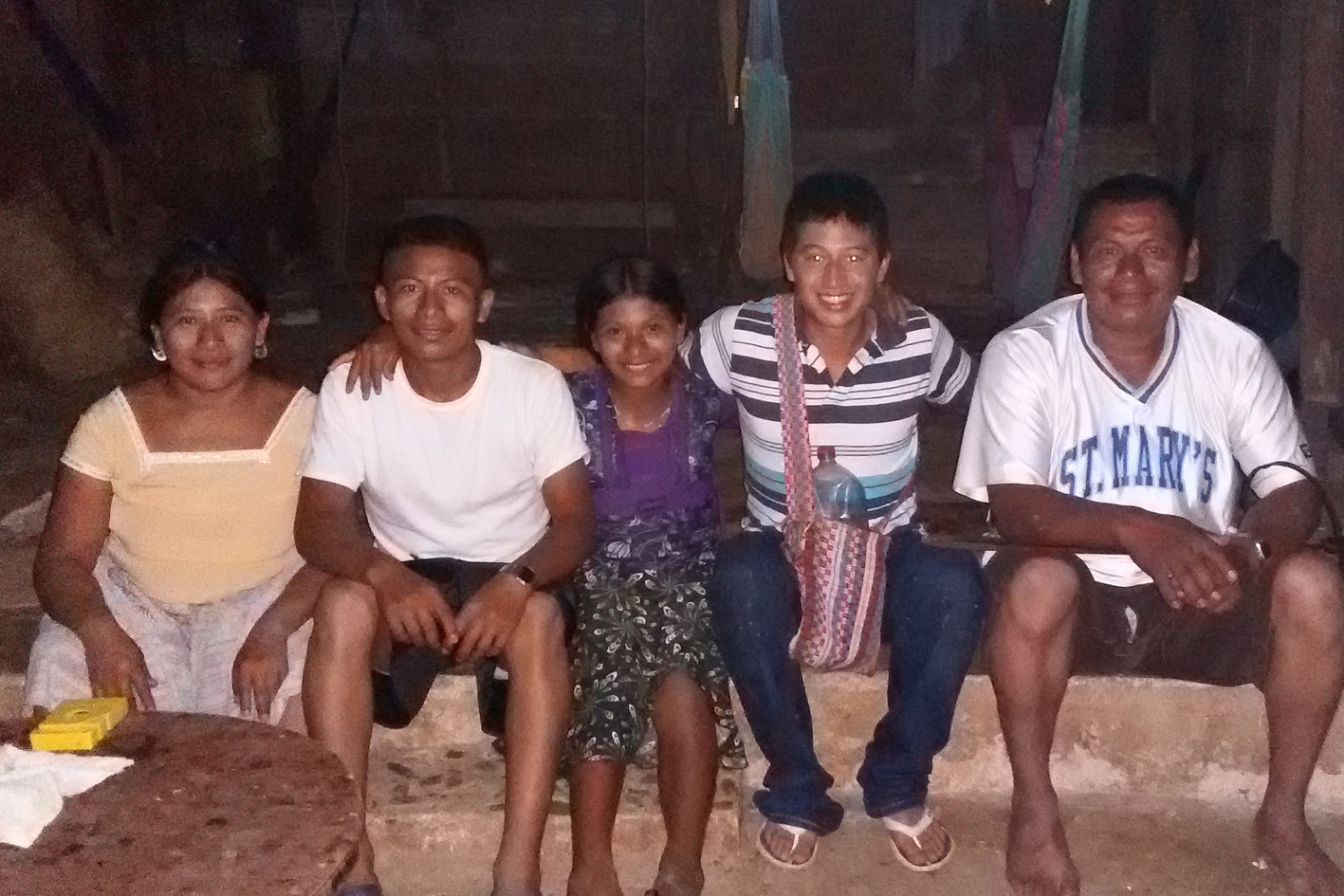 Alexis (second from the right) and the Quib family in San Benito Poite, Belize