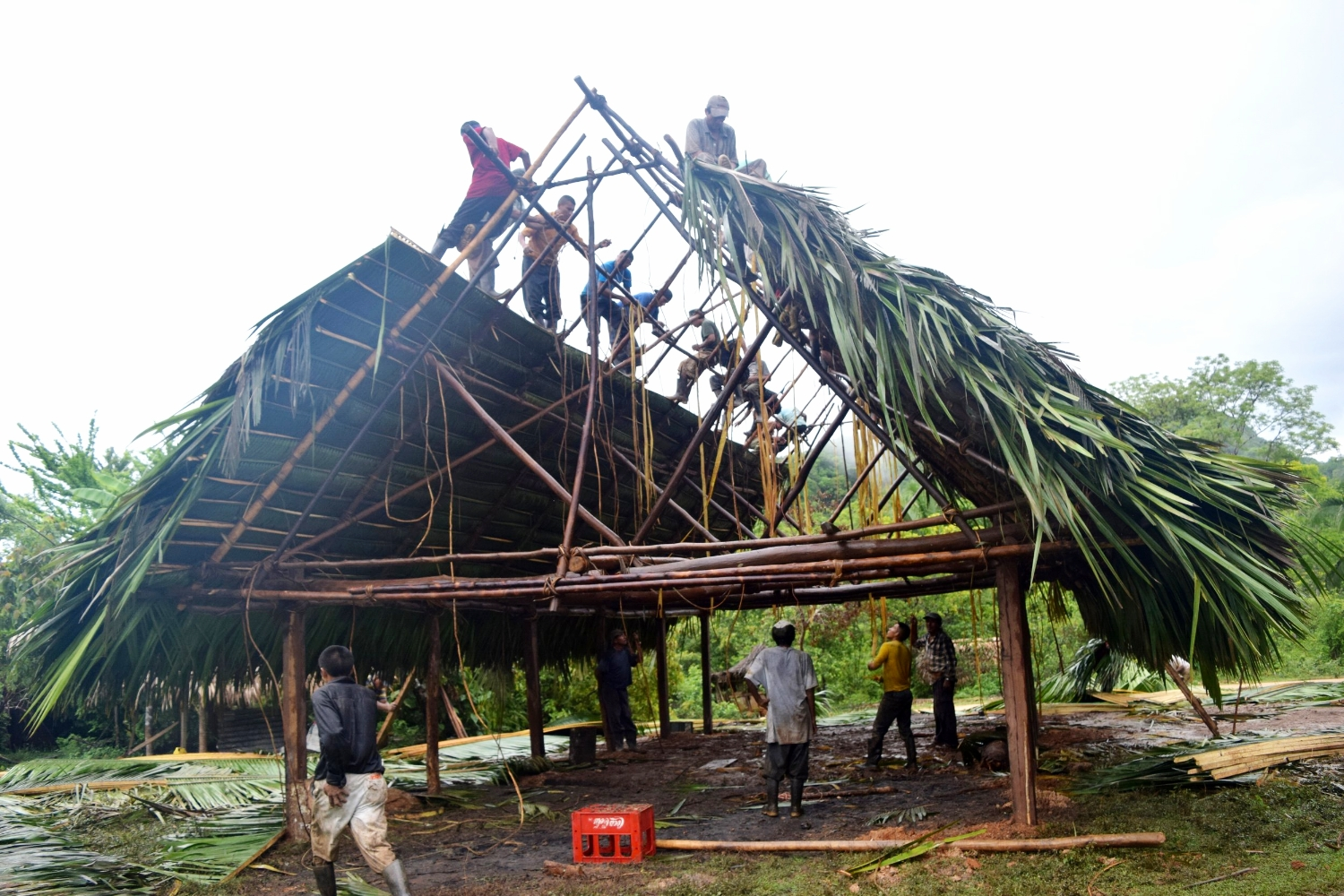 Community members in Otoxha, Belize thatch the roof a new, traditionally built house - photo by Robin McCarthy
