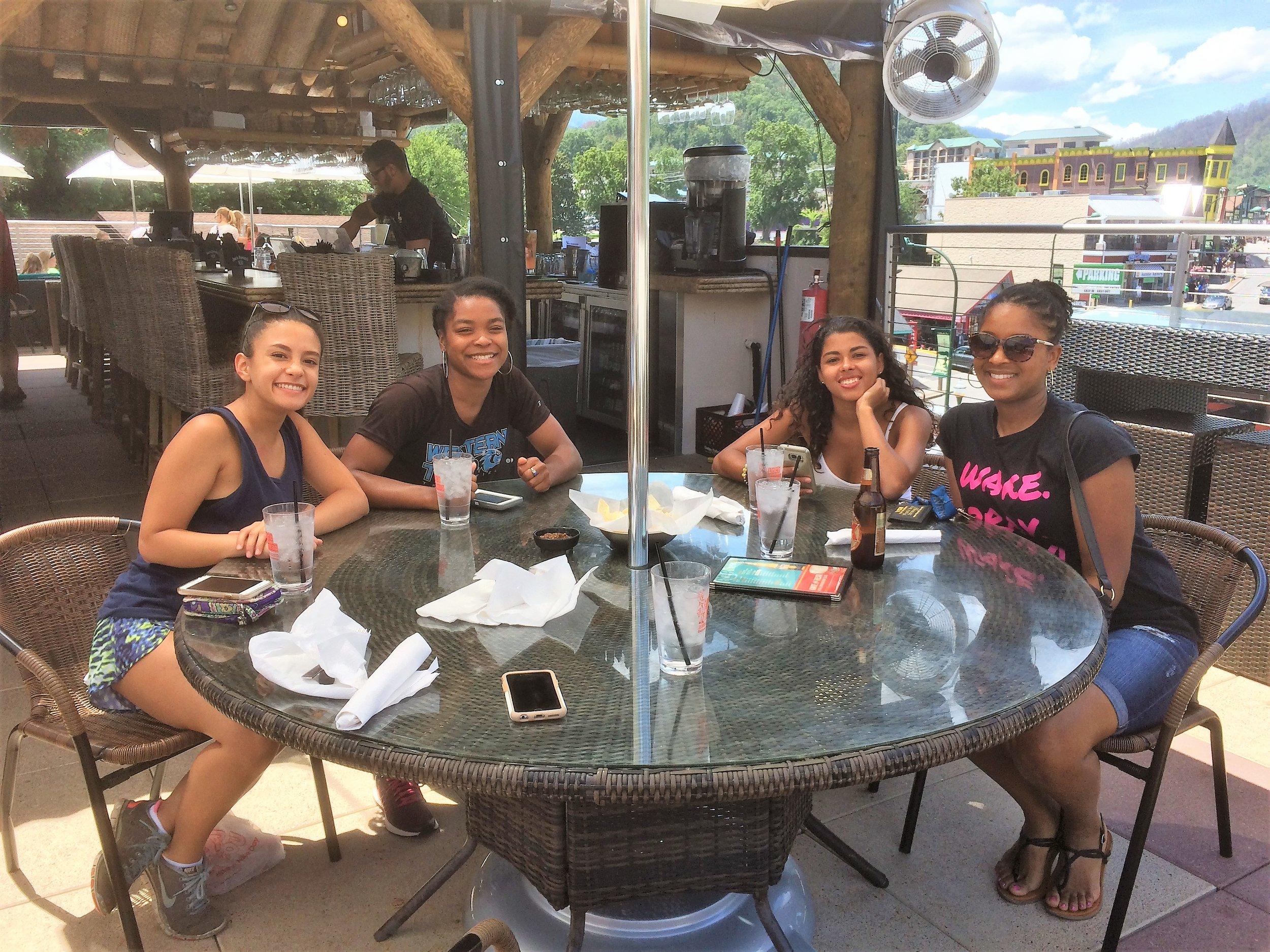 Rooftop lunch in Gatlinburg, TN with the 2017 Team: (left-right) Serena Moncion, Daijona Revell, Raquel Wetzell, and Felisha Walls.