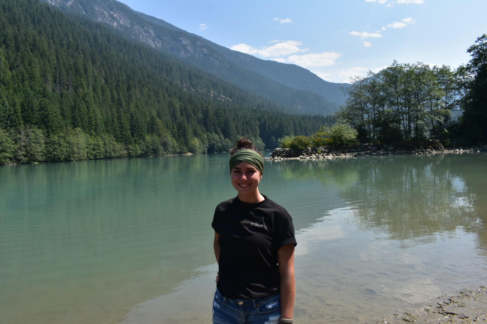 Vanessa pondering a dip in Diablo Lake