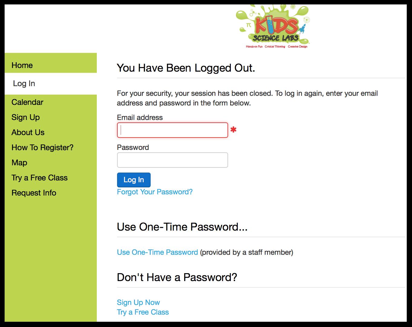 Zen - member login screen