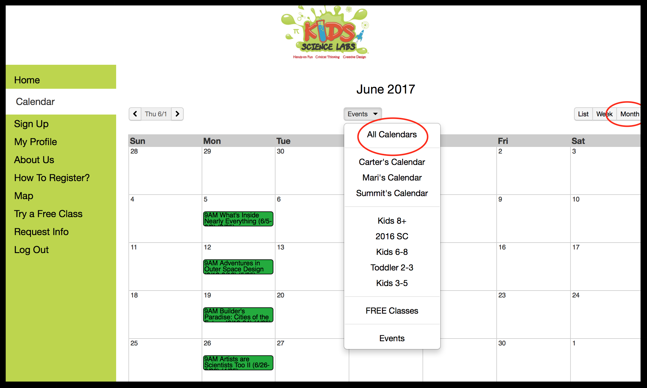 Viewing the calendar on the member website