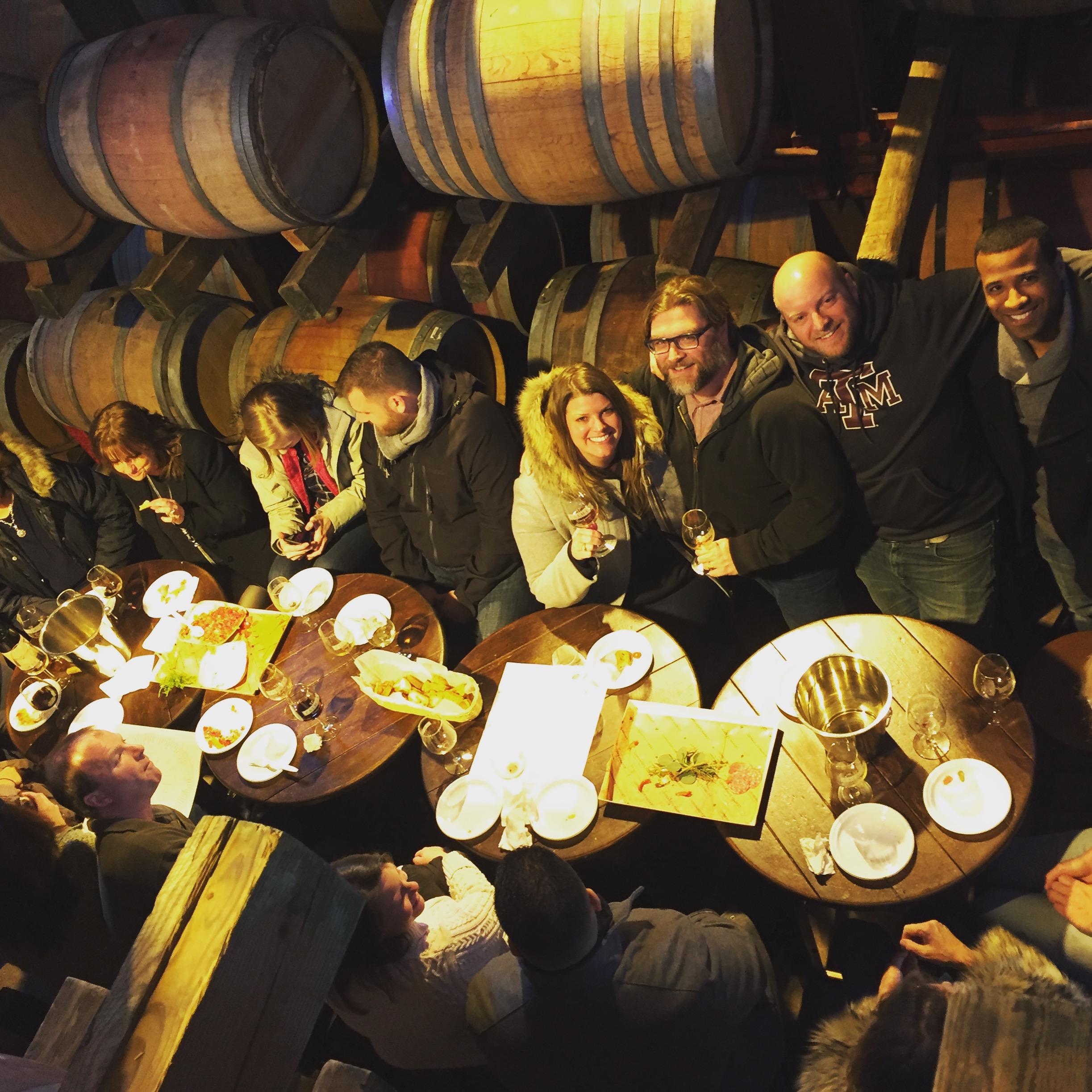 Barrel room tasting group